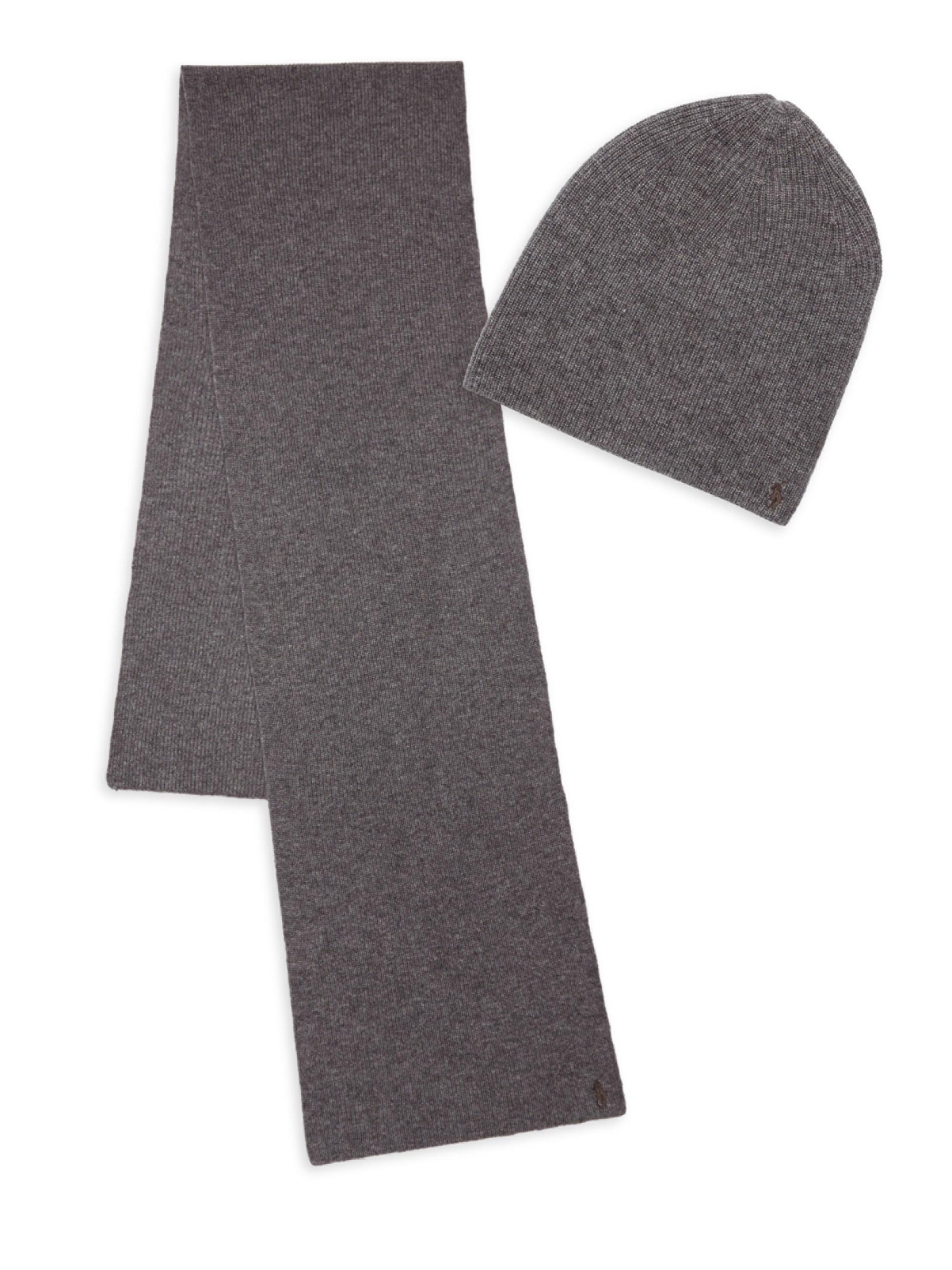 3df6c9f7c87 Lyst - Polo Ralph Lauren Cashmere Blend Hat   Scarf Set in Gray for Men
