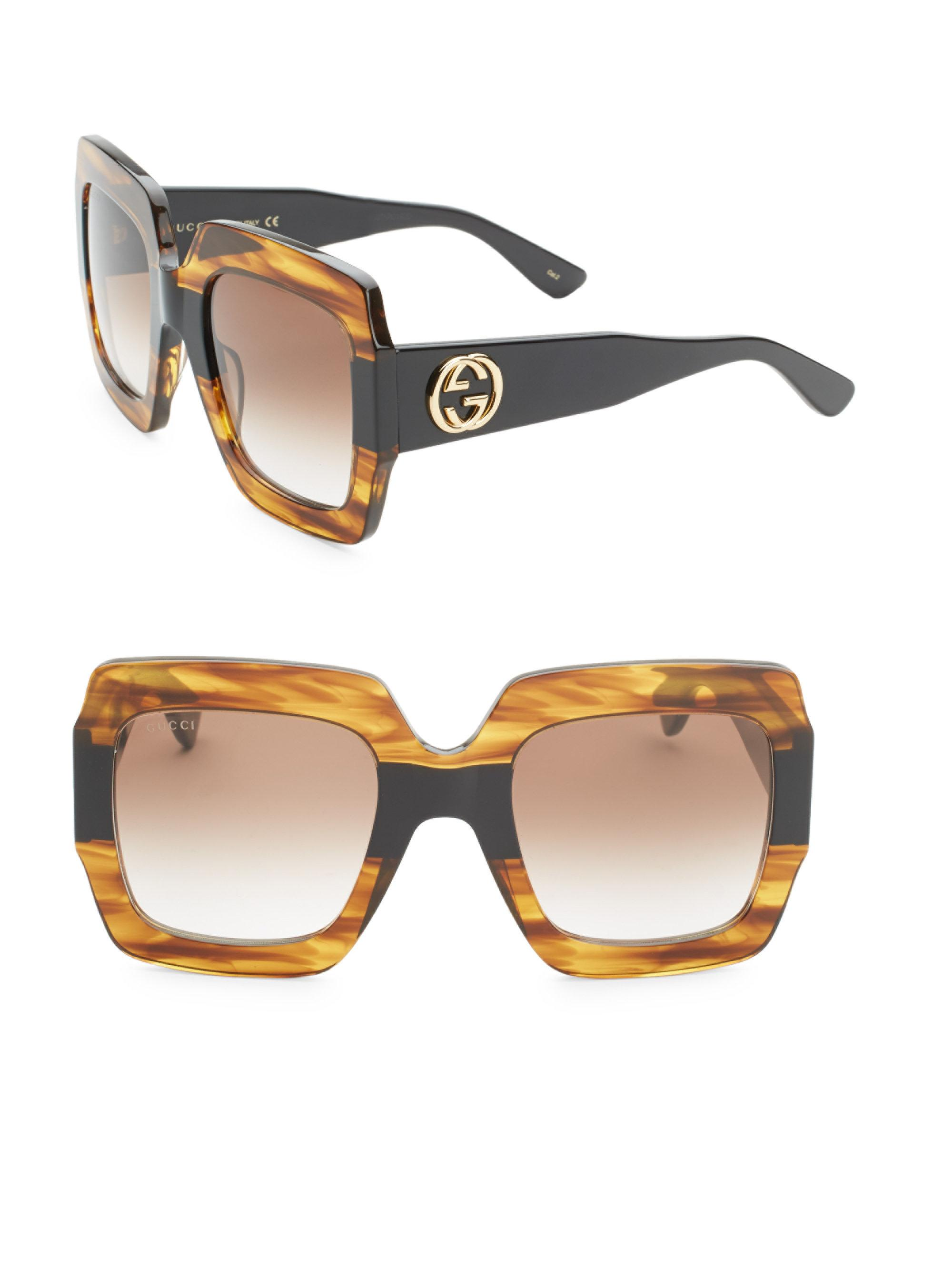 03979c7bc4cd5 Gucci - Multicolor 54mm Square Sunglasses - Shny Multlay Gloss Rose brn -  Lyst. View fullscreen