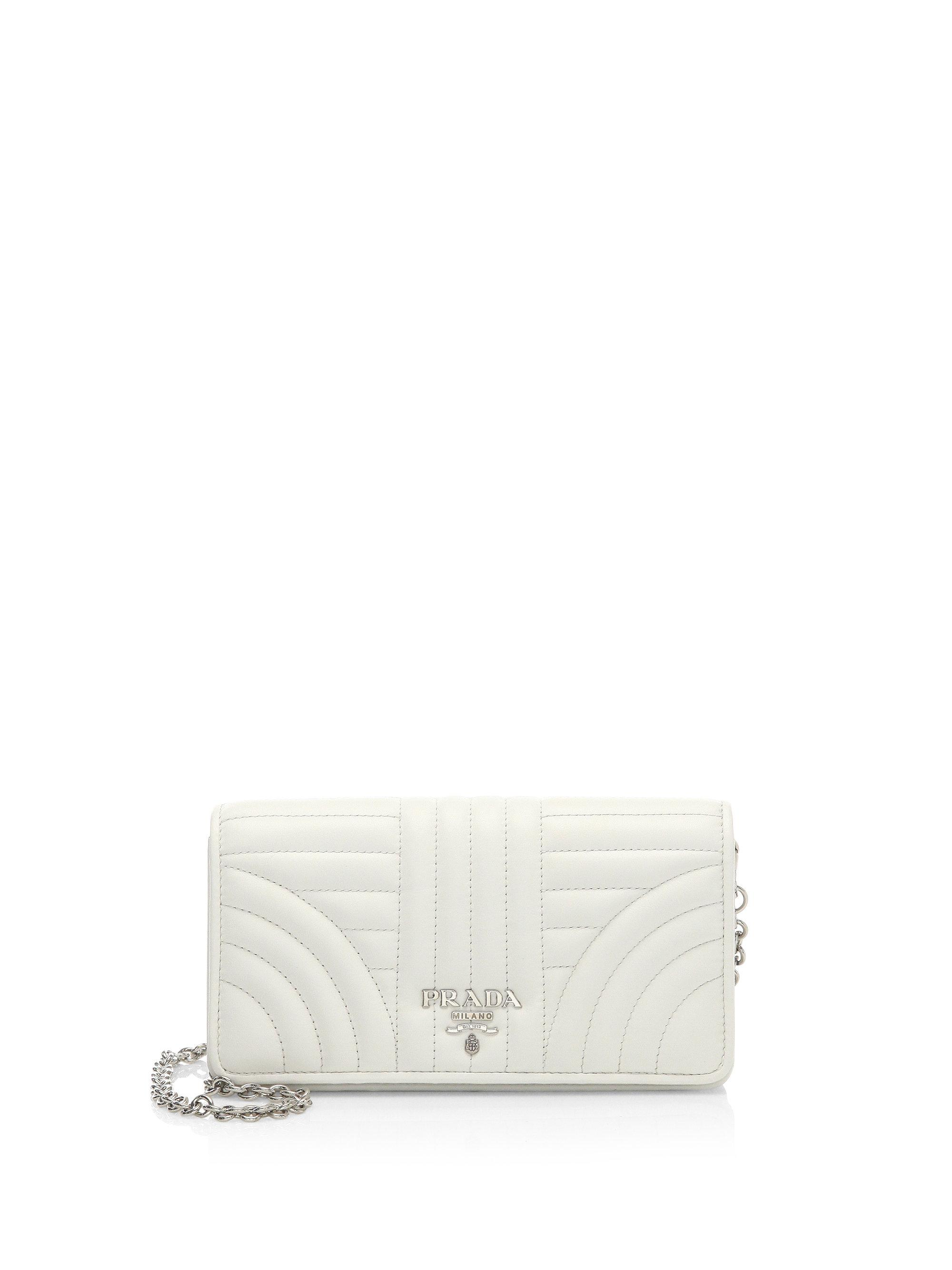 3bbbe7910a33 Lyst - Prada Quilted Crossbody Wallet On Chain in White