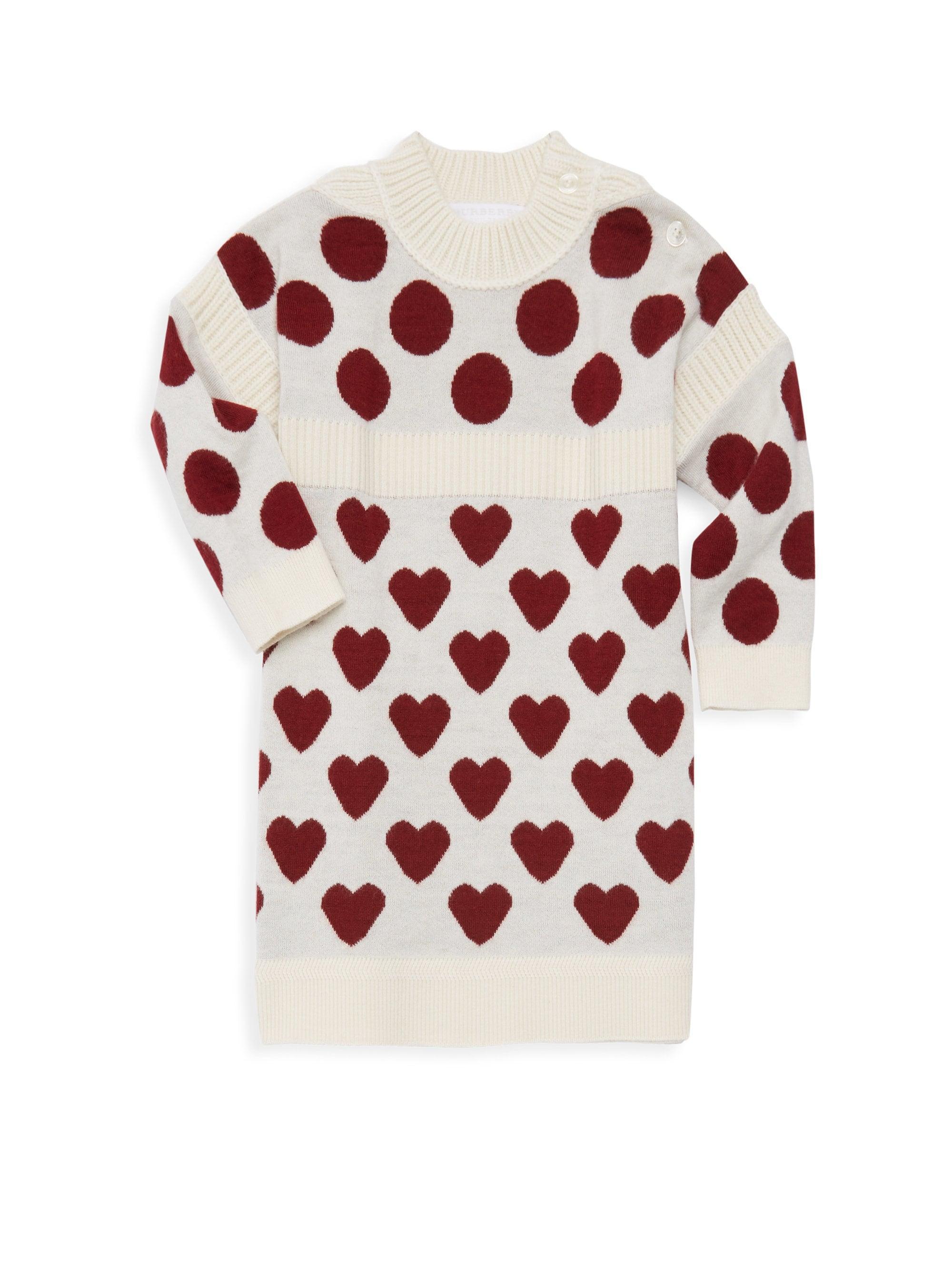 6df170f9a8a9 Lyst - Burberry Baby Girl s   Little Girl s Mini Heart Dot Sweater Dress
