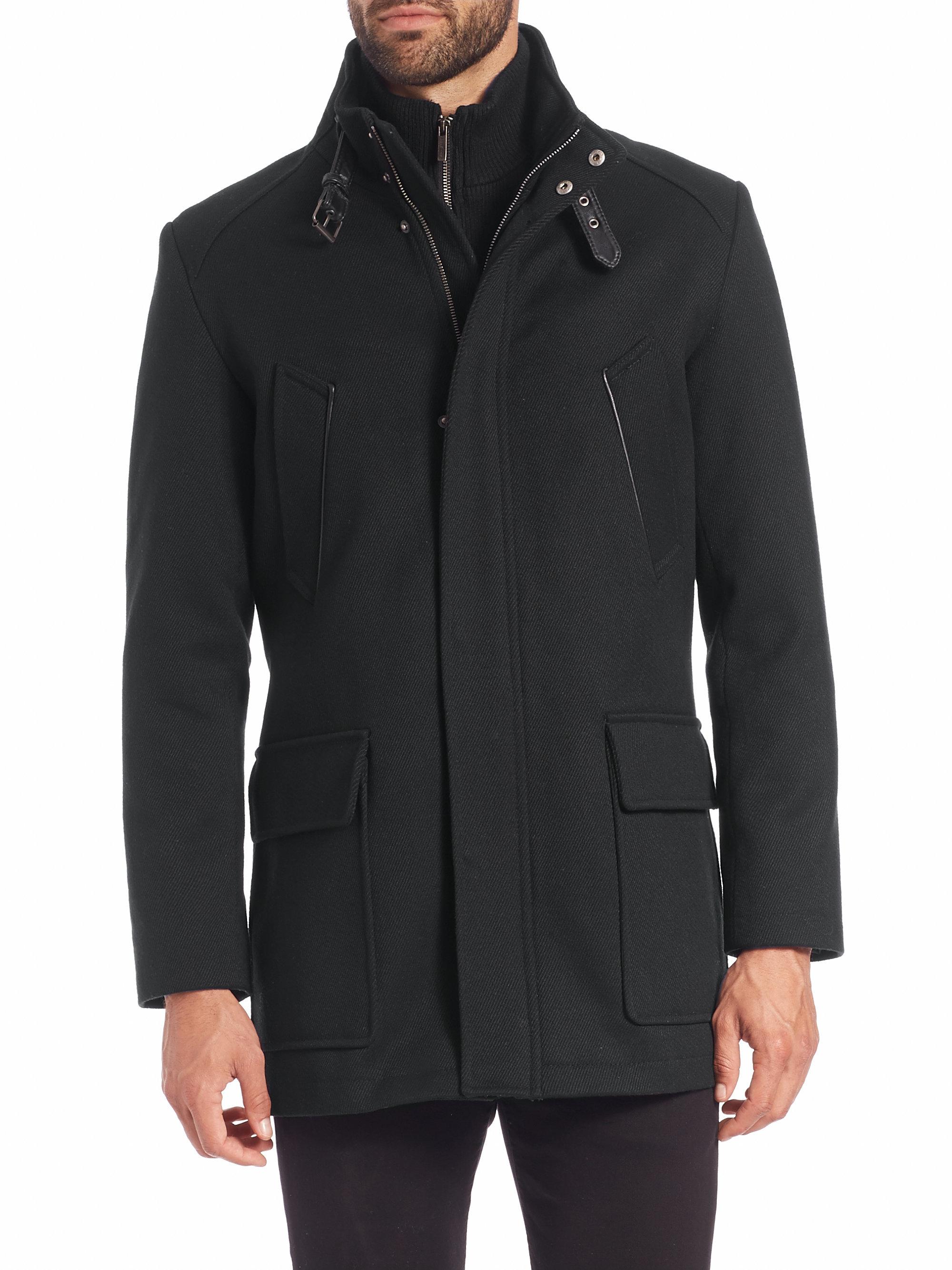 Cole Haan Wool Knit Bib Carcoat In Gray For Men Lyst