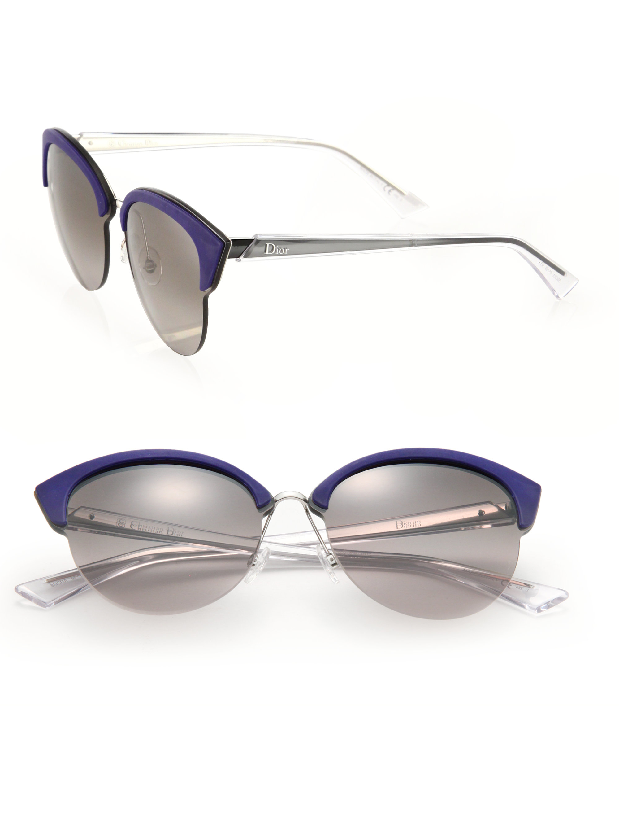 b6cc7dcac5 Dior Clubmaster Round 65mm Metal Sunglasses in Blue