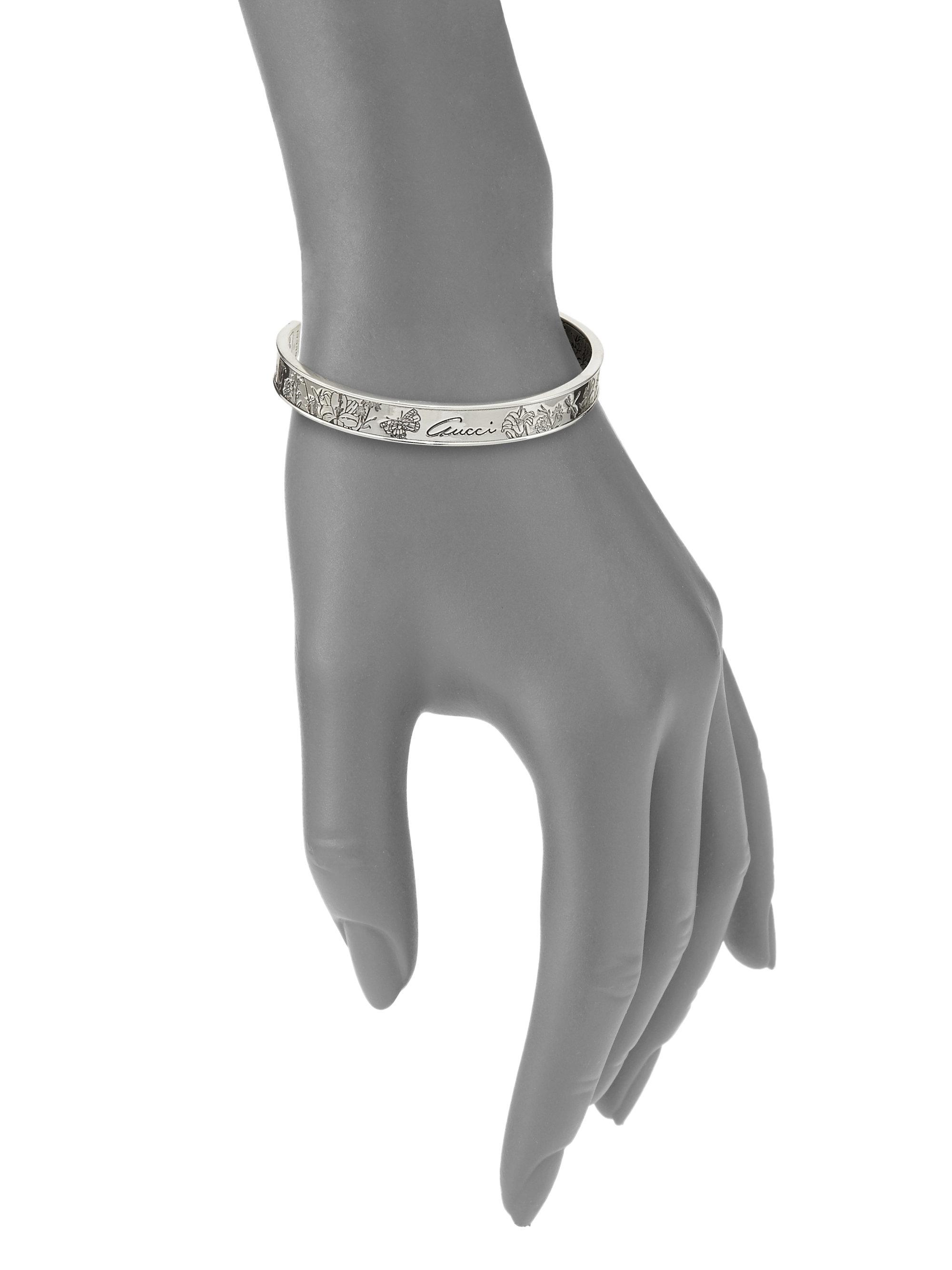 8c82f887d52 Lyst - Gucci Flora Sterling Silver Cuff in Metallic
