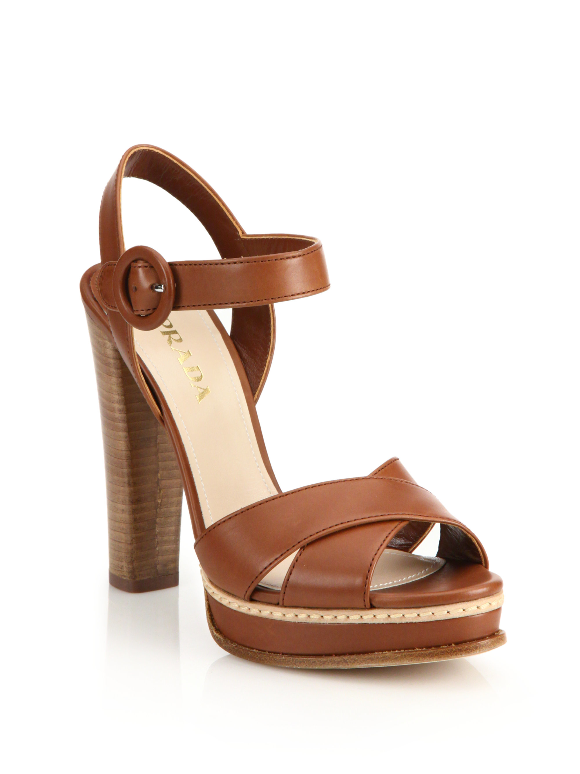 367082a54b1 Lyst - Prada Stacked Heel Leather Platform Sandals in Brown