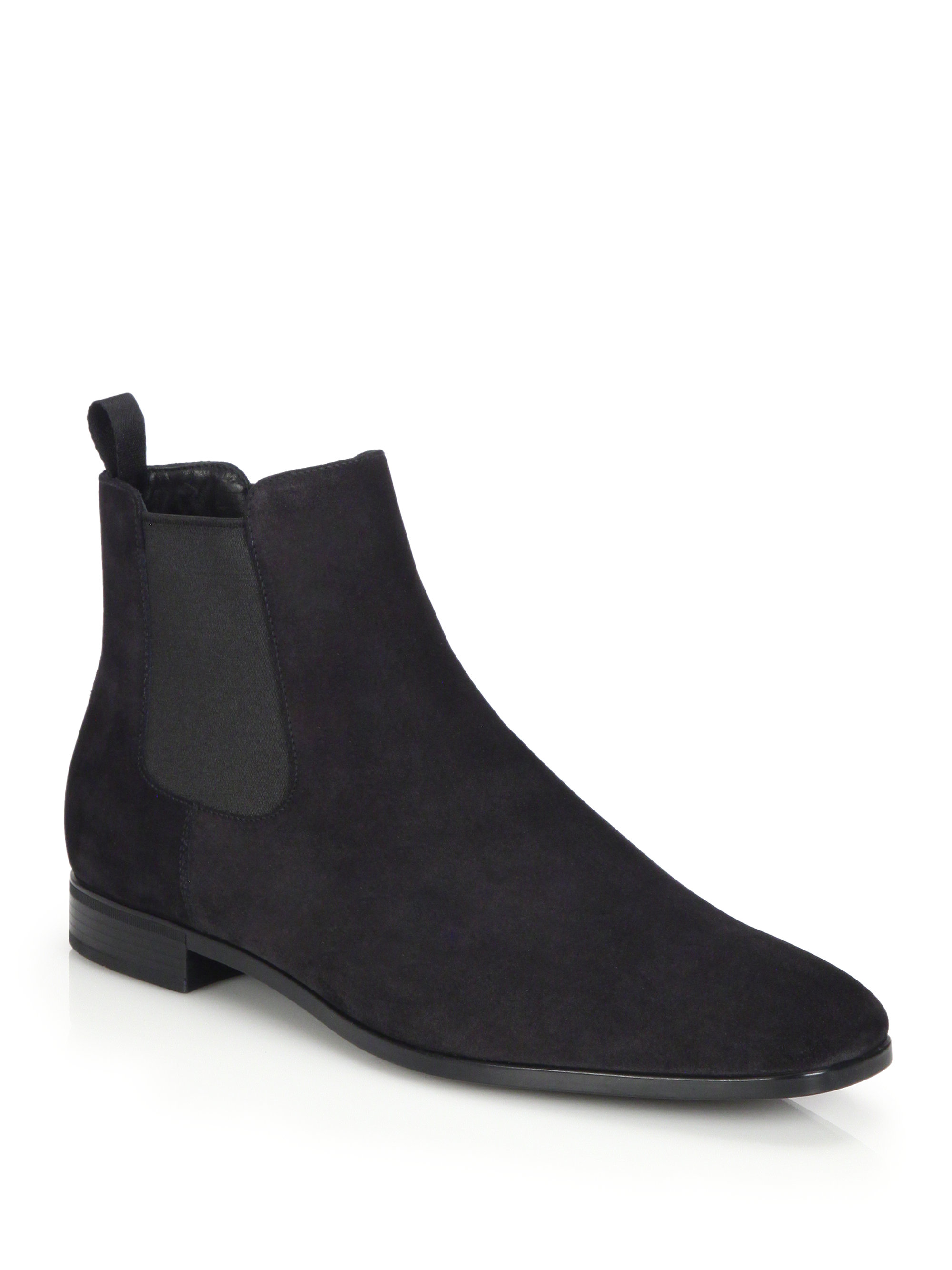 Prada Suede Chelsea Boots In Black For Men Lyst