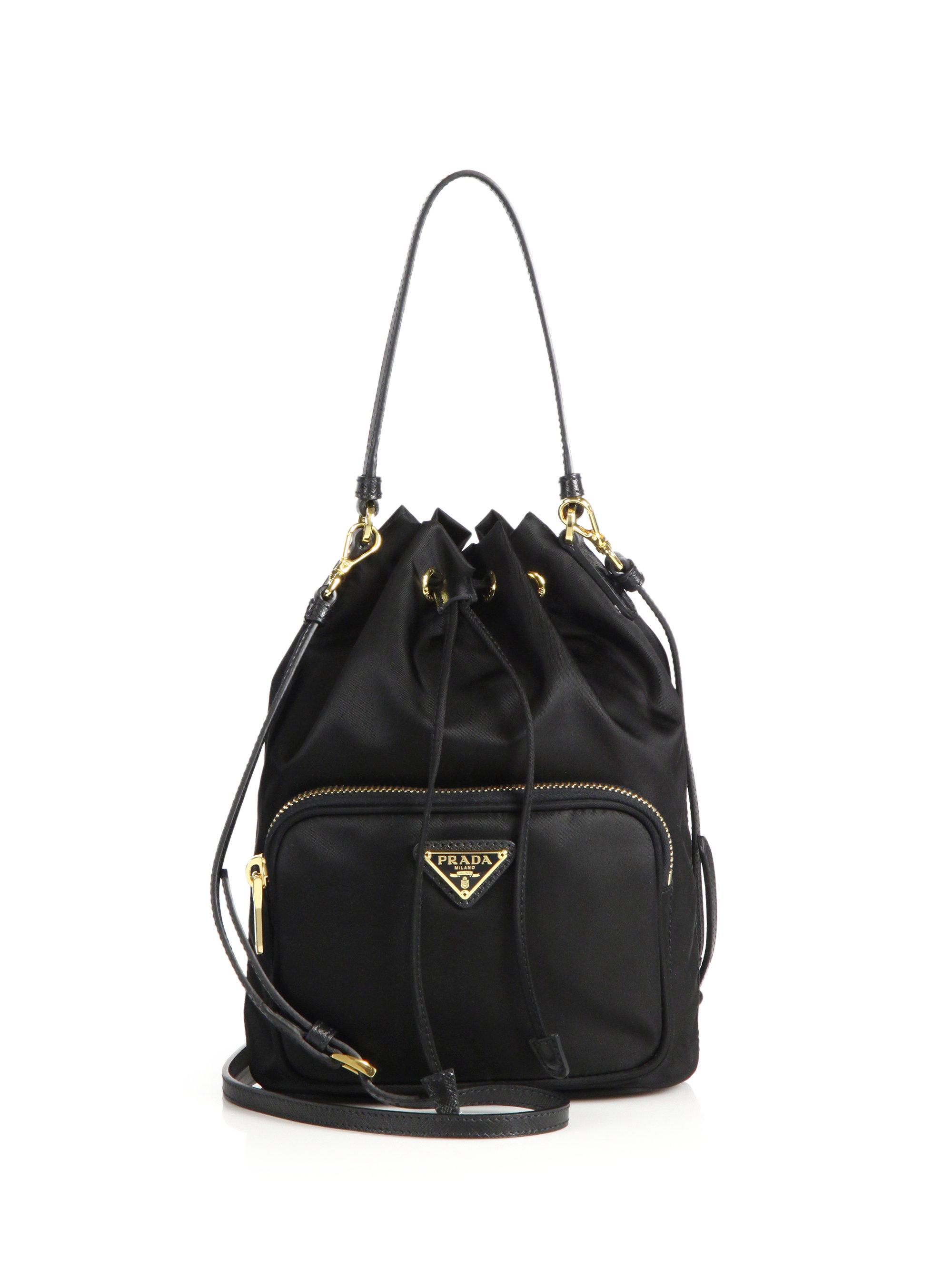 f0e35b783669 ... coupon lyst prada mini nylon leather bucket bag in black 33033 ed349