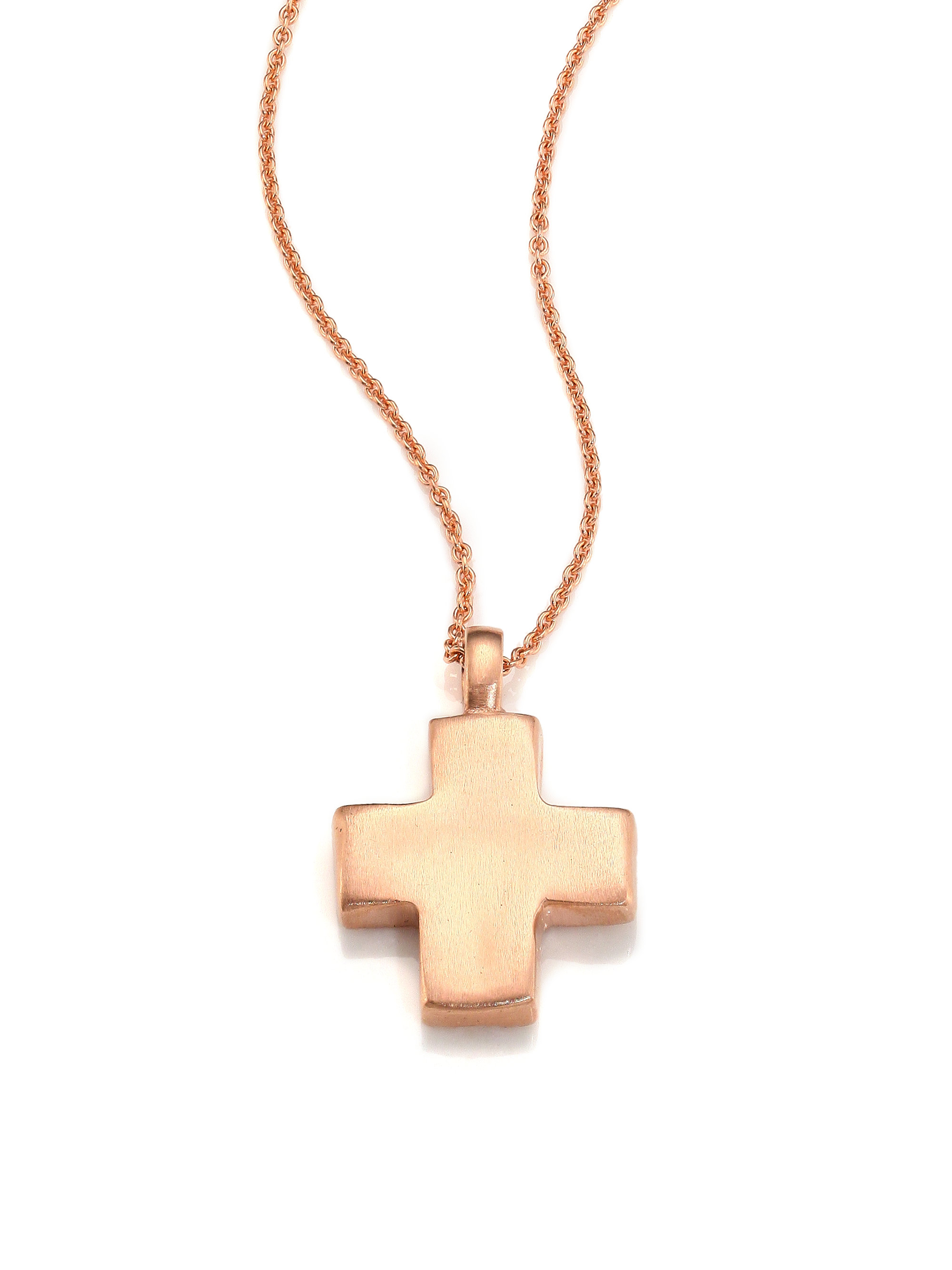 lyst lj cross cobblestone 14k rose gold cross pendant. Black Bedroom Furniture Sets. Home Design Ideas