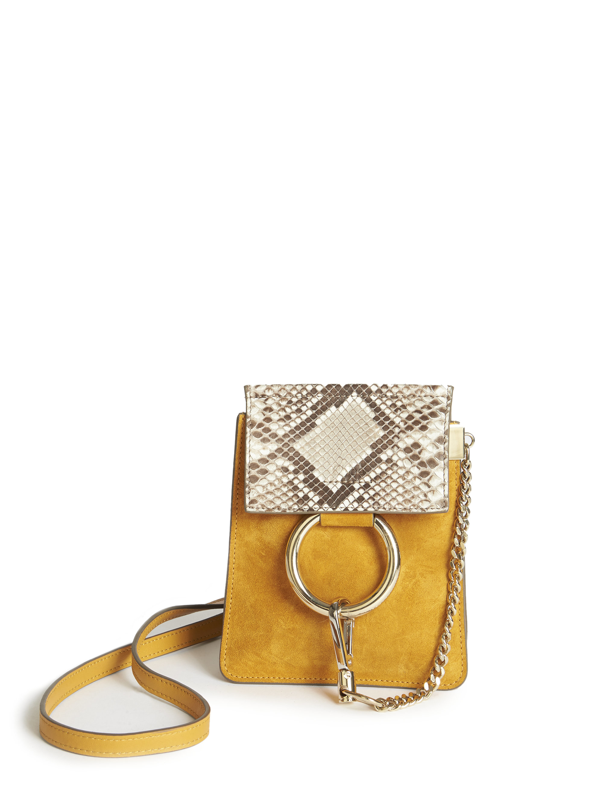 Lyst - Chloé Faye Mini Suede and Python-Embossed Bag 36457e40c98b6