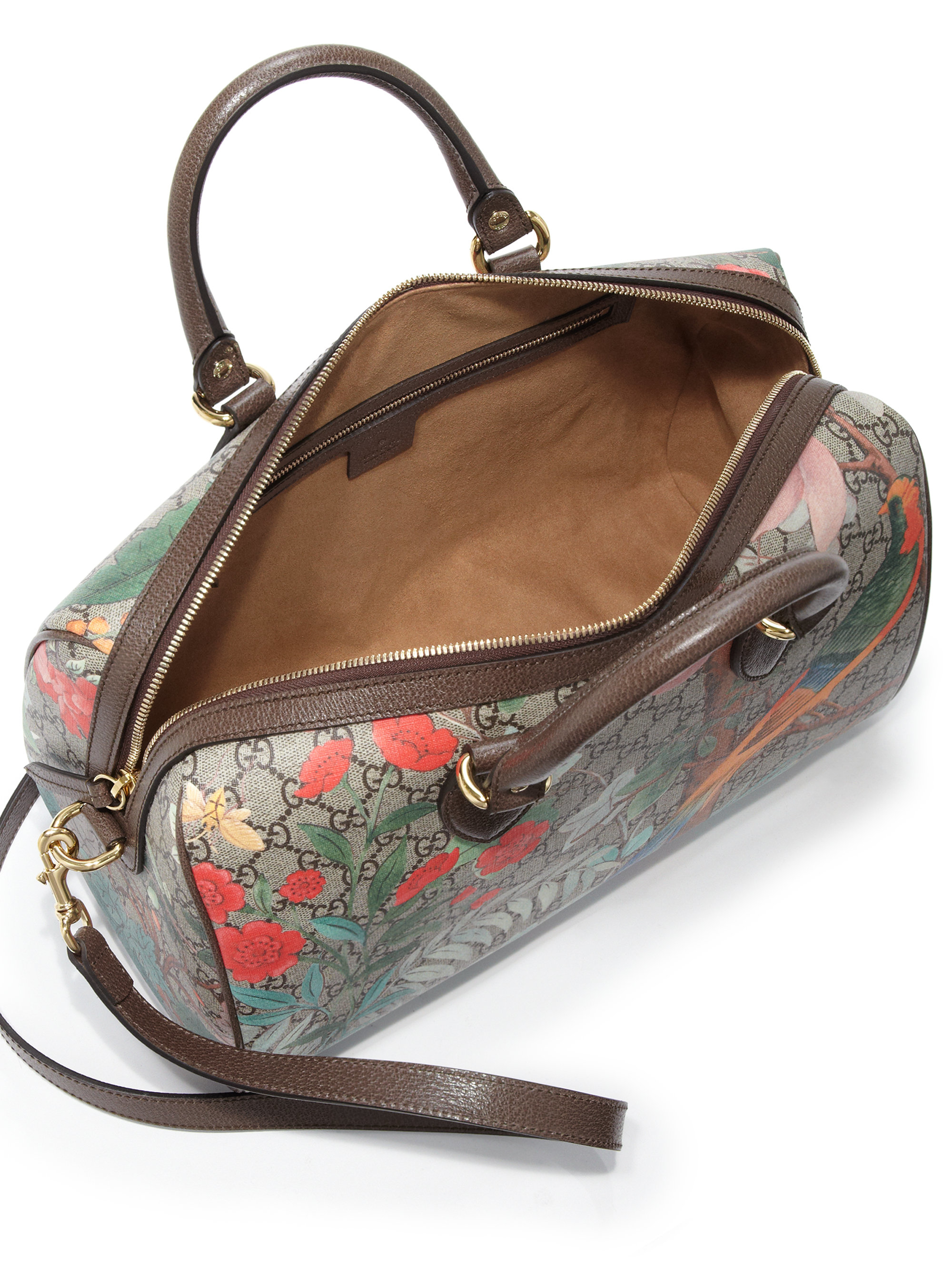 b9bed90cace Lyst - Gucci Tian Gg Supreme Top-handle Boston Bag