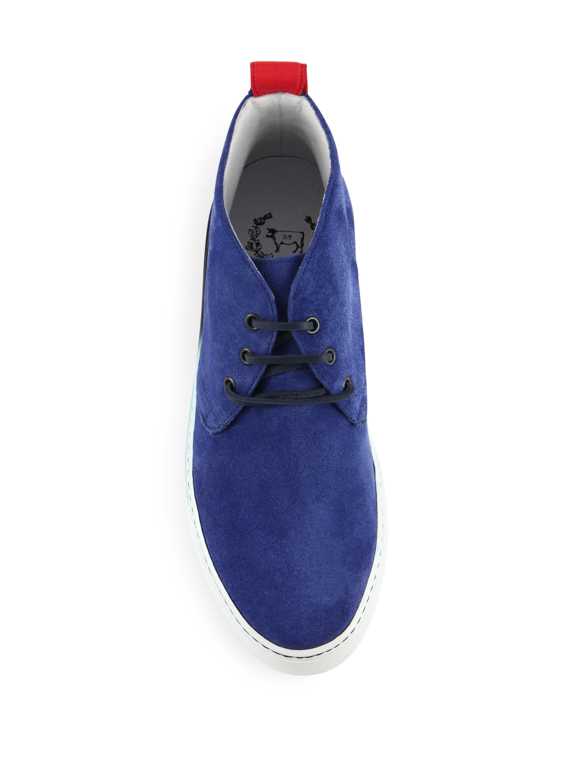Del Toro Faded Sole Suede Chukka Sneakers In Blue For Men
