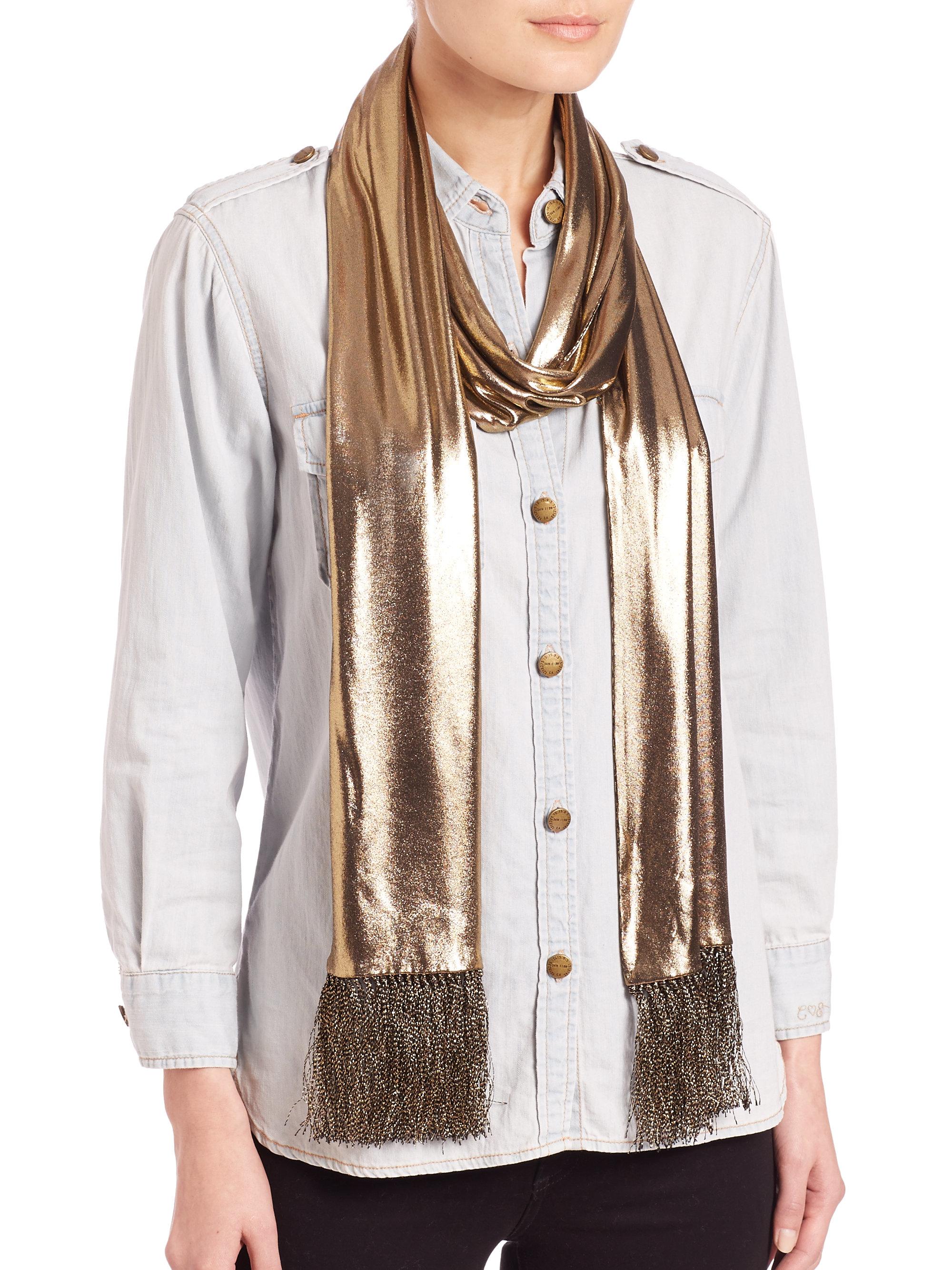 laurent fringed metallic scarf in metallic lyst