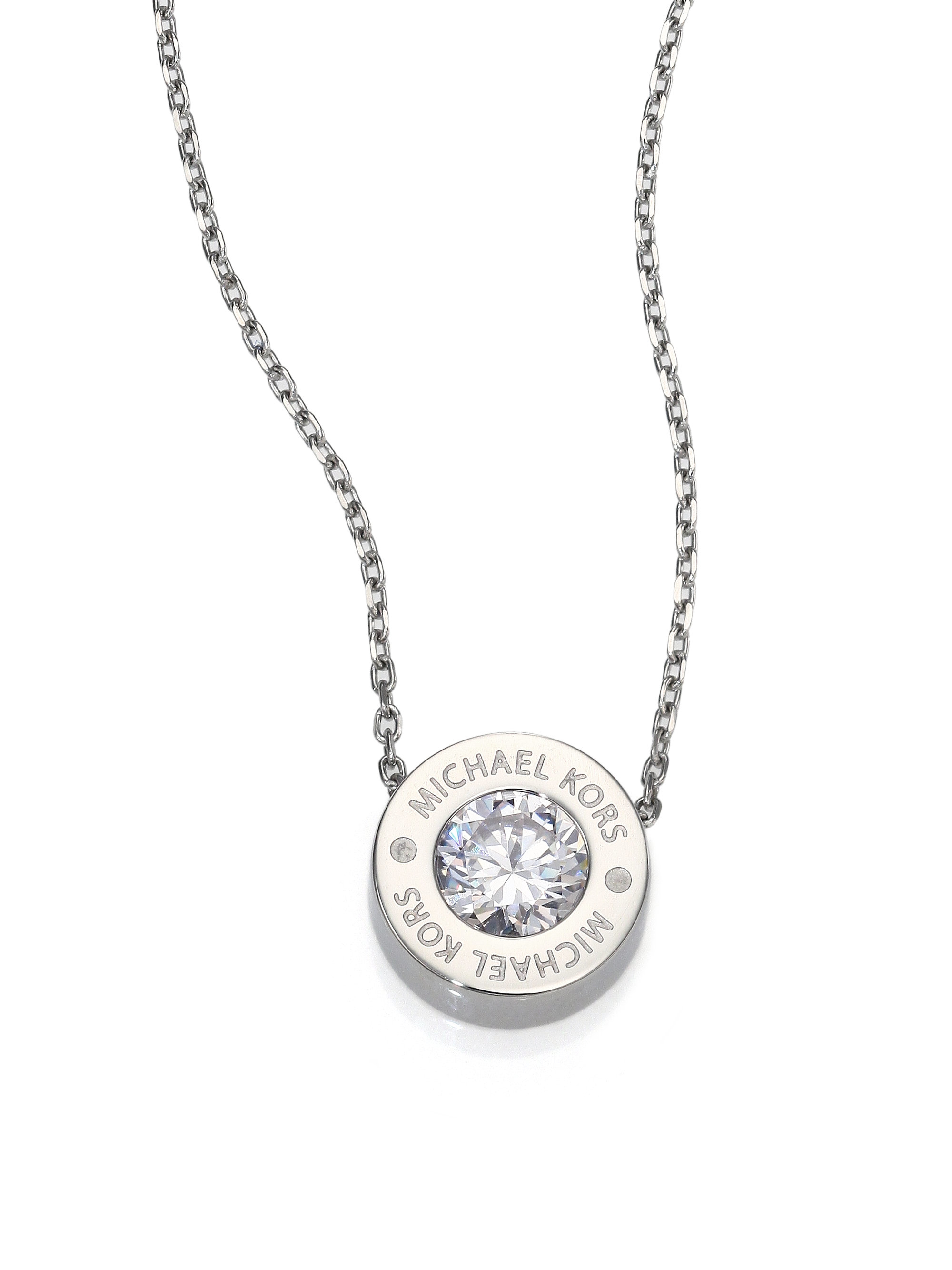 Lyst michael kors brilliance logo pendant necklacesilvertone in gallery previously sold at saks fifth avenue womens michael kors pendant mozeypictures Image collections
