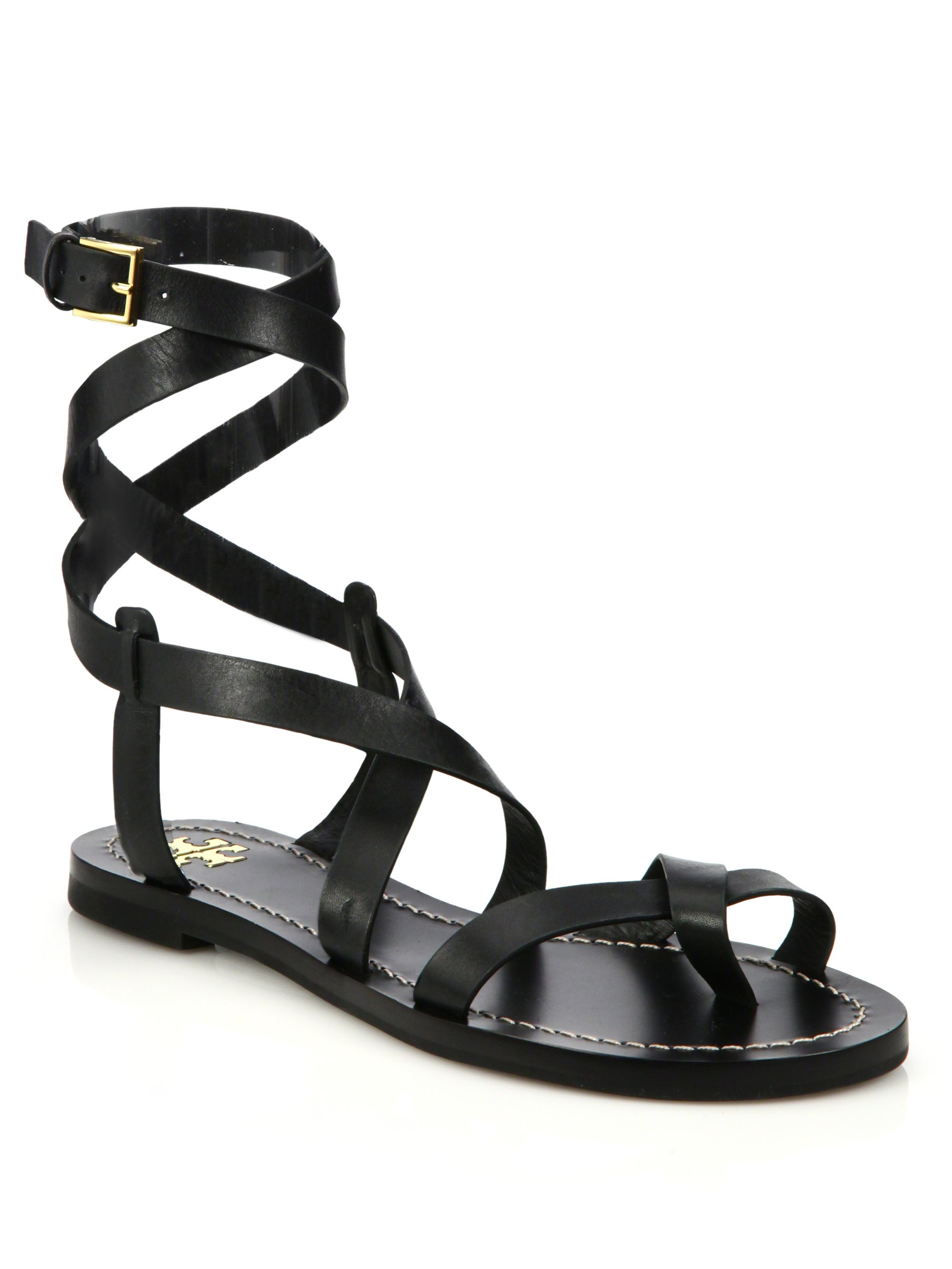 9355e6ca421 Lyst - Tory Burch Patos Crisscross Leather Sandal in Black