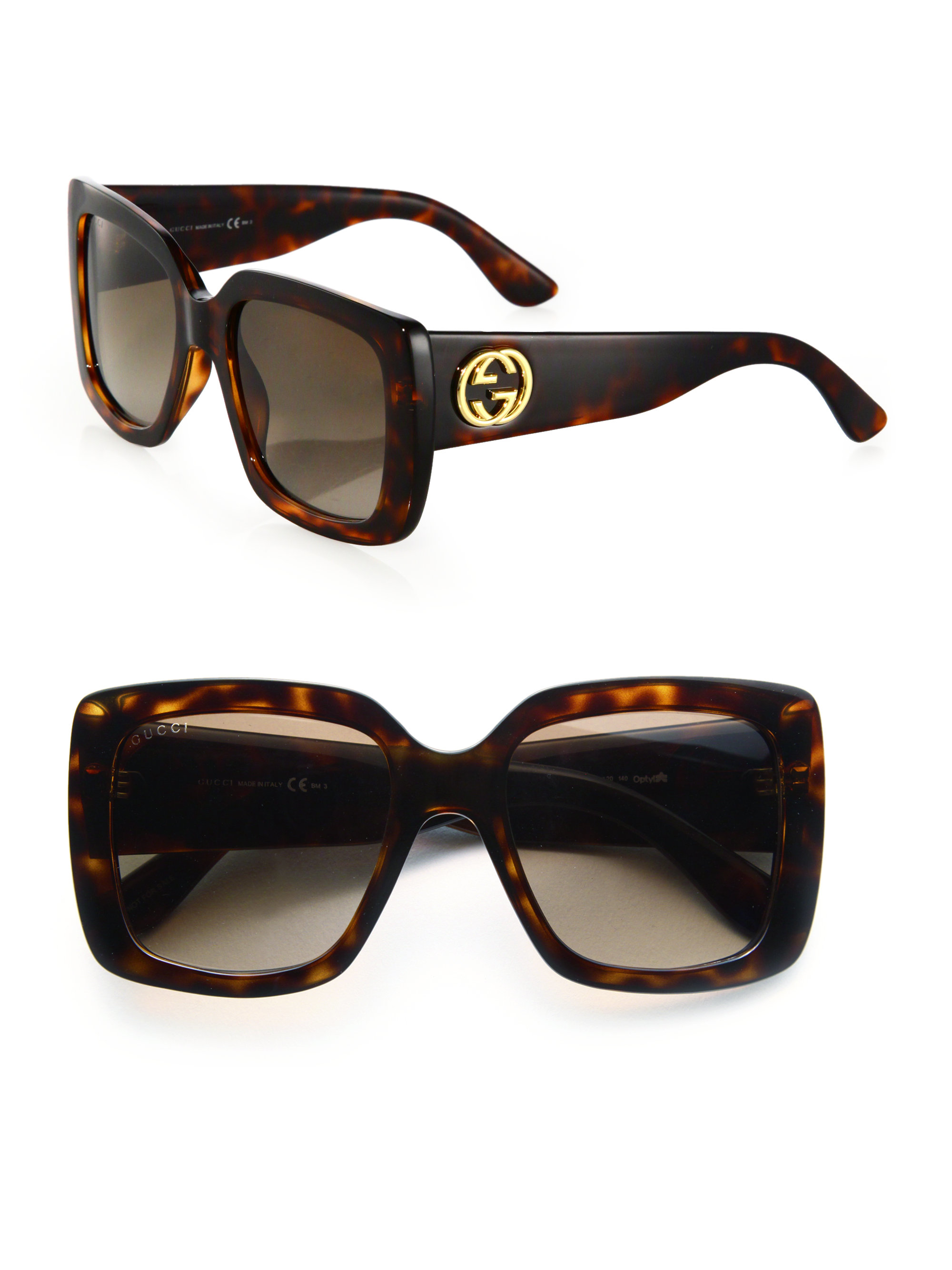 Gucci 53mm Oversized Square Glitter Sunglasses In Brown Lyst