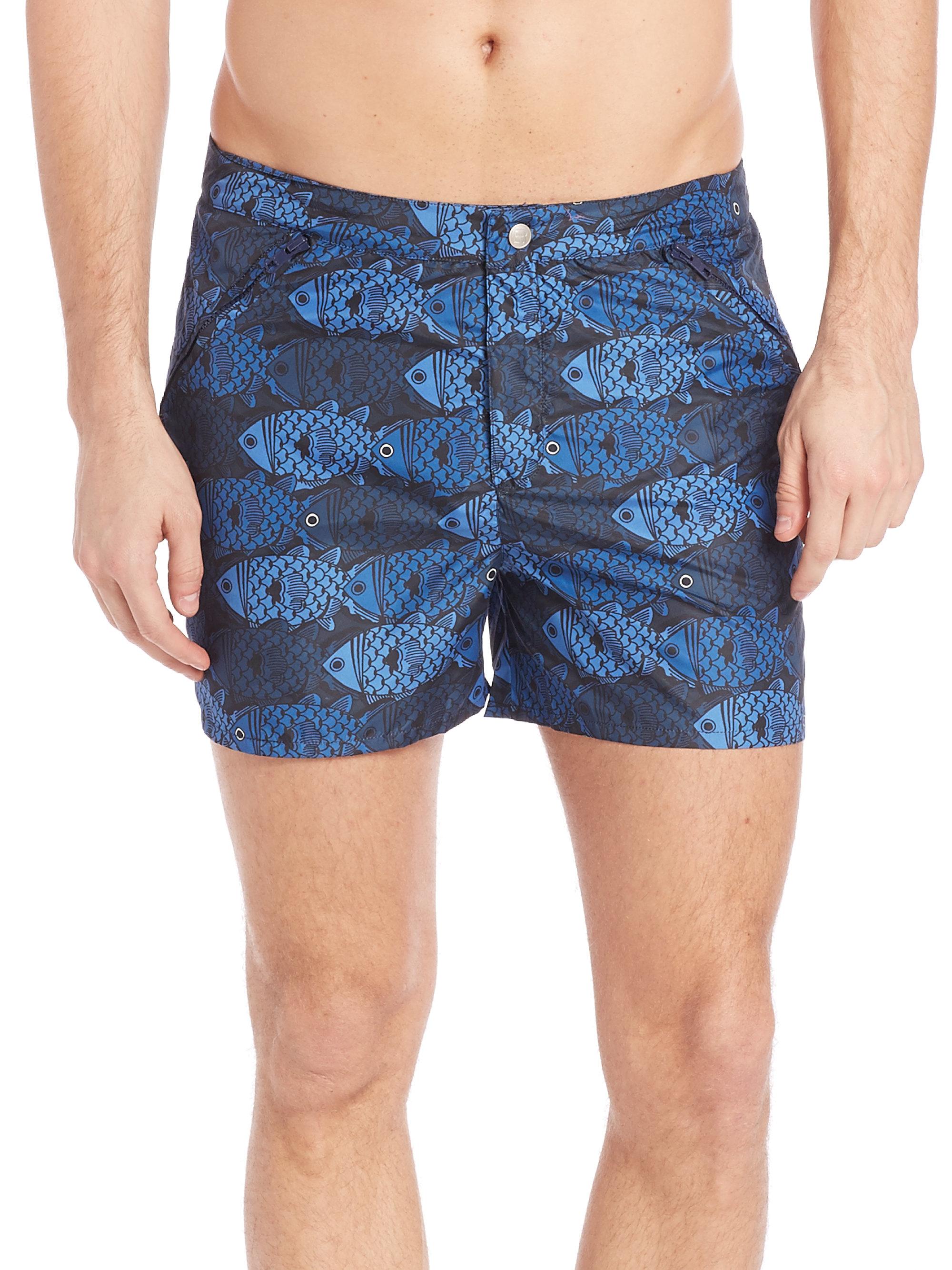 Robinson les bains fish print swim shorts in green for men for Fishing swim trunks