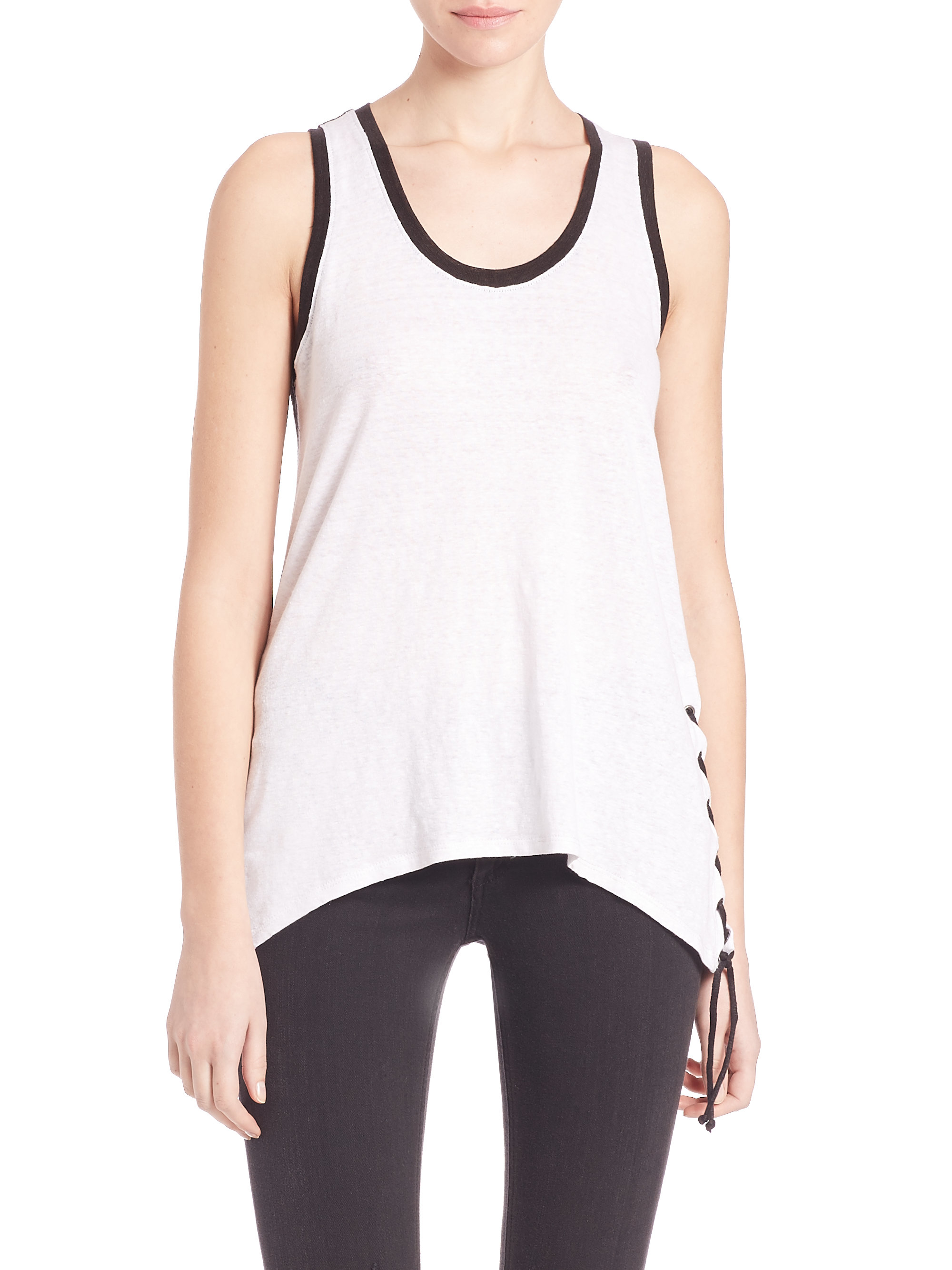 Lyst Red Haute Side Lace Up Tank Top In Black