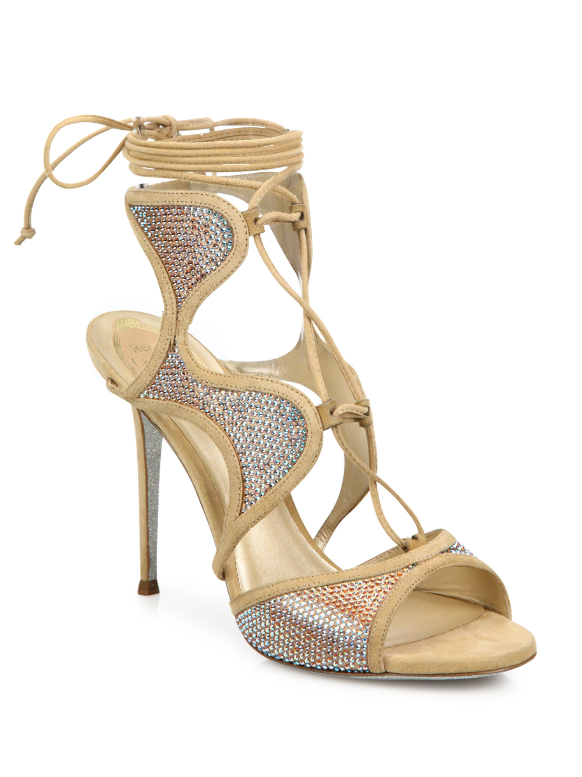 Lyst Rene Caovilla Crystal Embellished Suede Lace Up Sandals