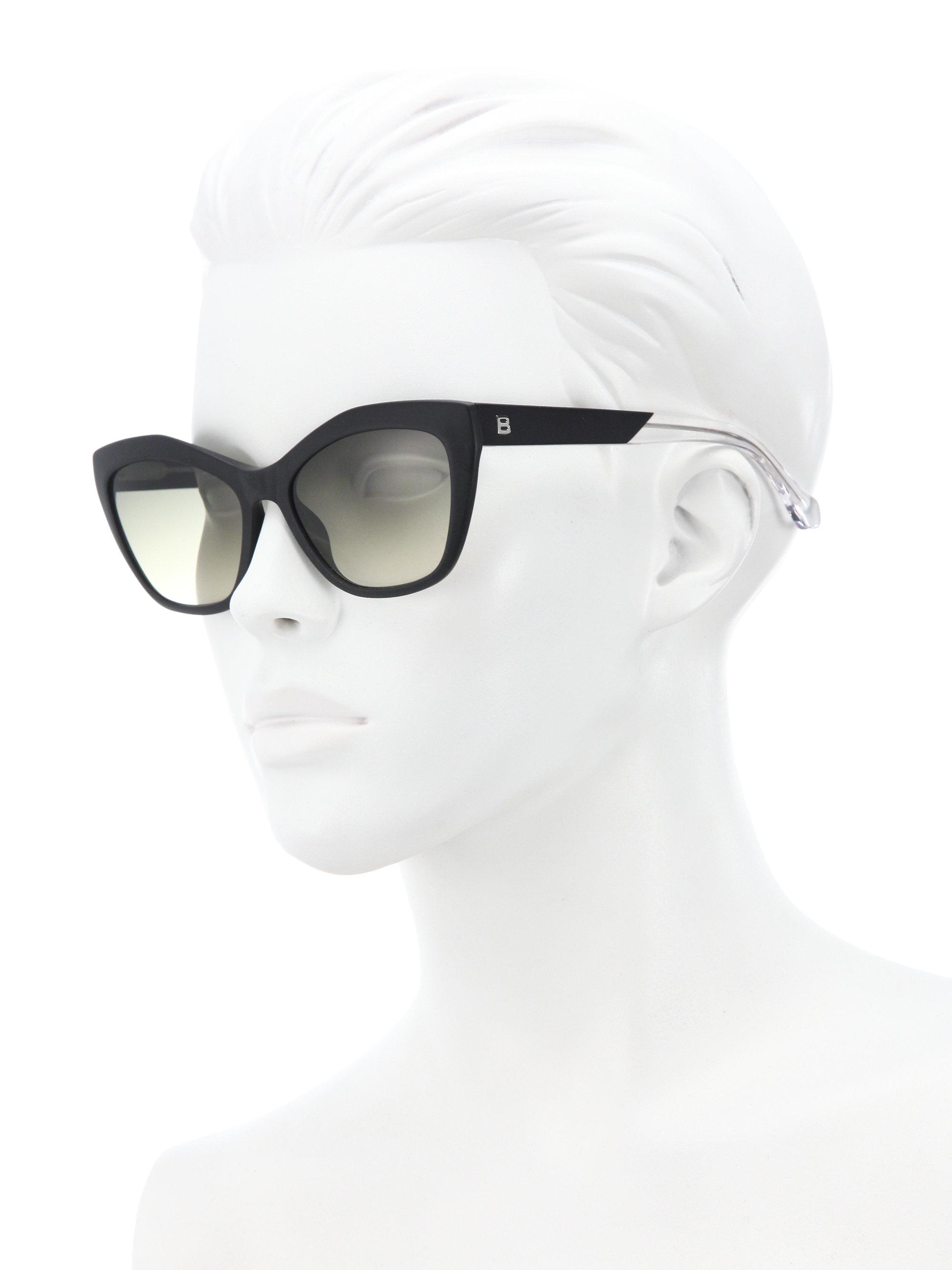 e48e41acba6 Lyst - Balenciaga 56mm Acetate Cat Eye Sunglasses in Black