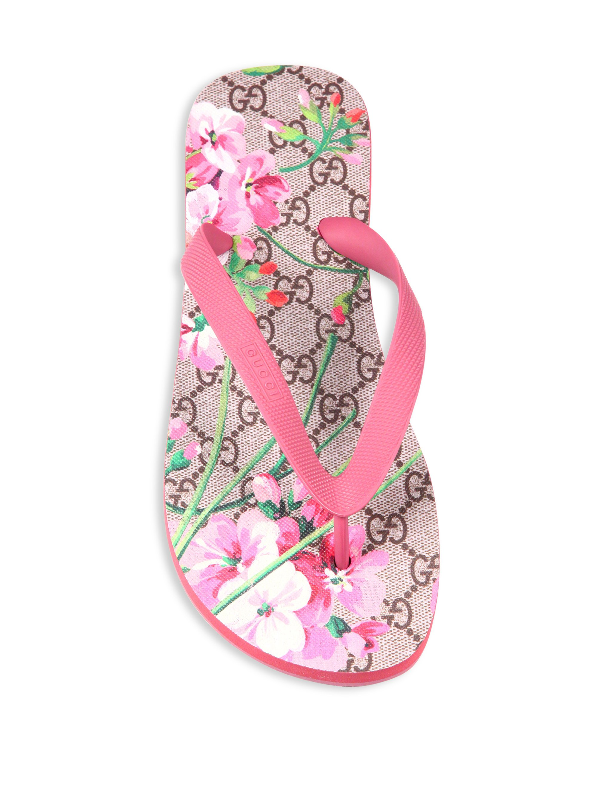 Lyst Gucci Gg Bloom Rubber Flip Flops In Pink