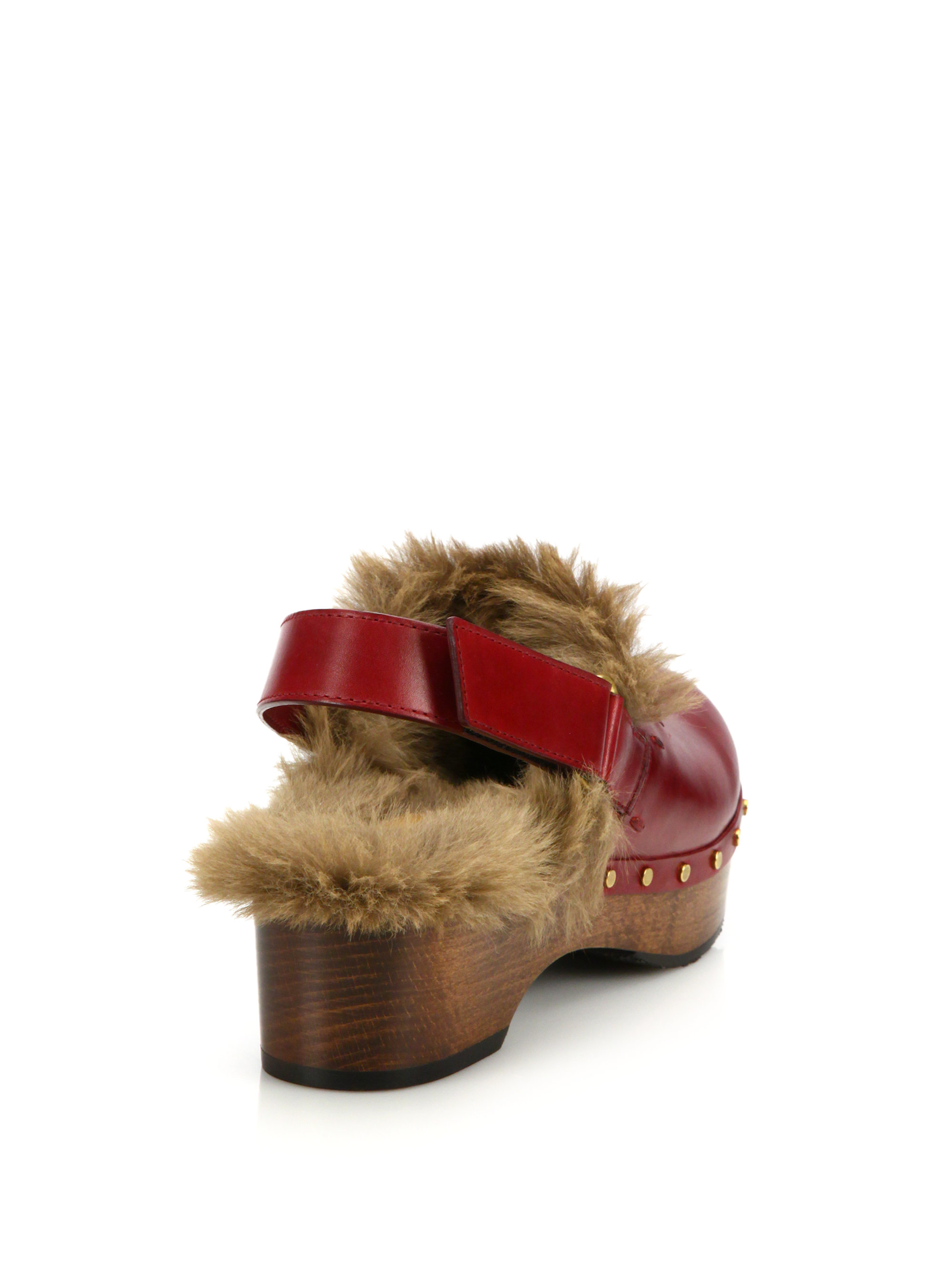 Lyst Gucci Amstel Fur Lined Leather Slingback Clogs In Red
