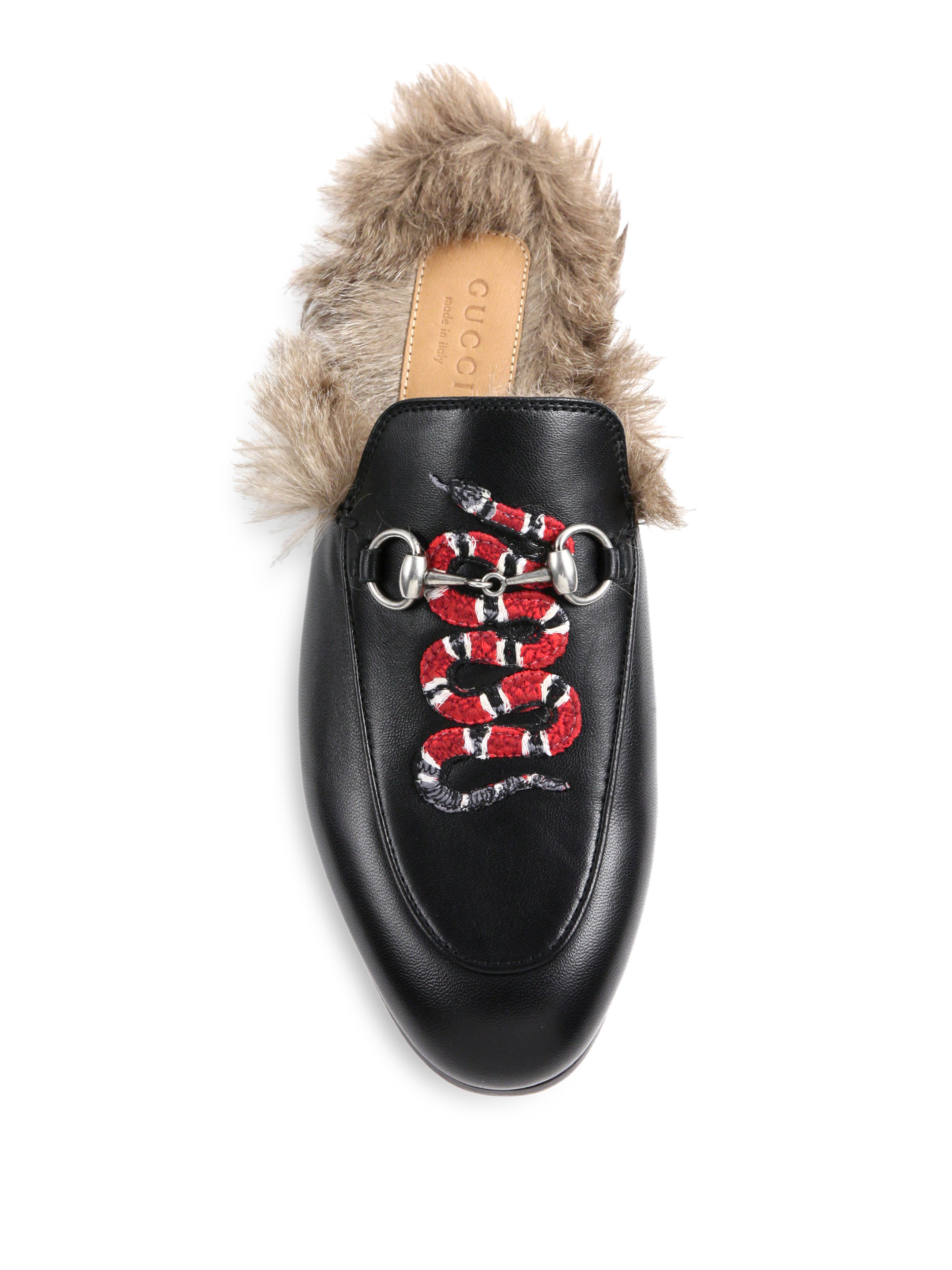 9ad31e0c6ae Lyst - Gucci Princetown Fur-lined Snake Leather Slippers in Black