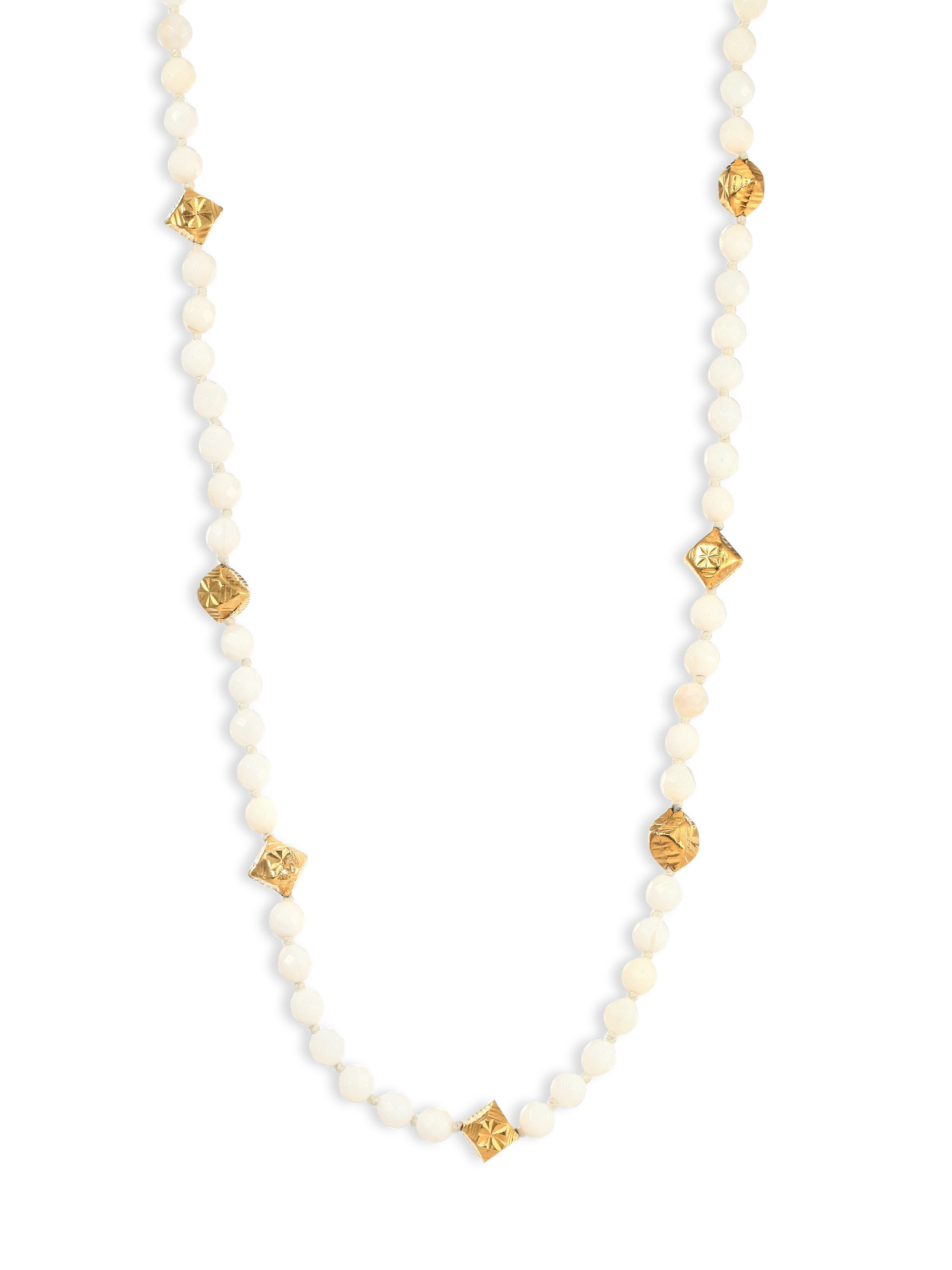 chan luu white opal beaded necklace in white lyst