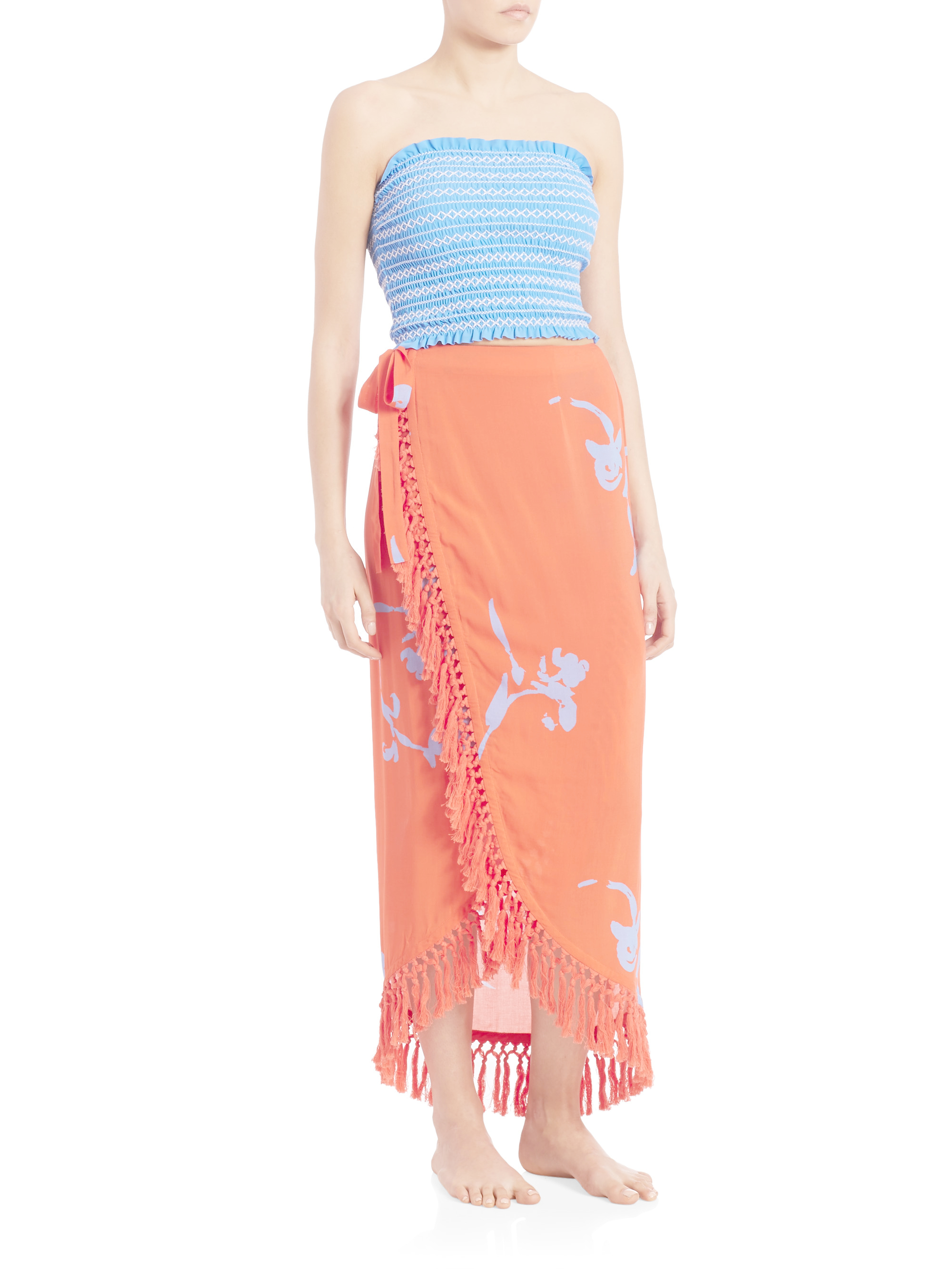 Lyst tory burch talisay wrap skirt in orange for Tory burch fashion island
