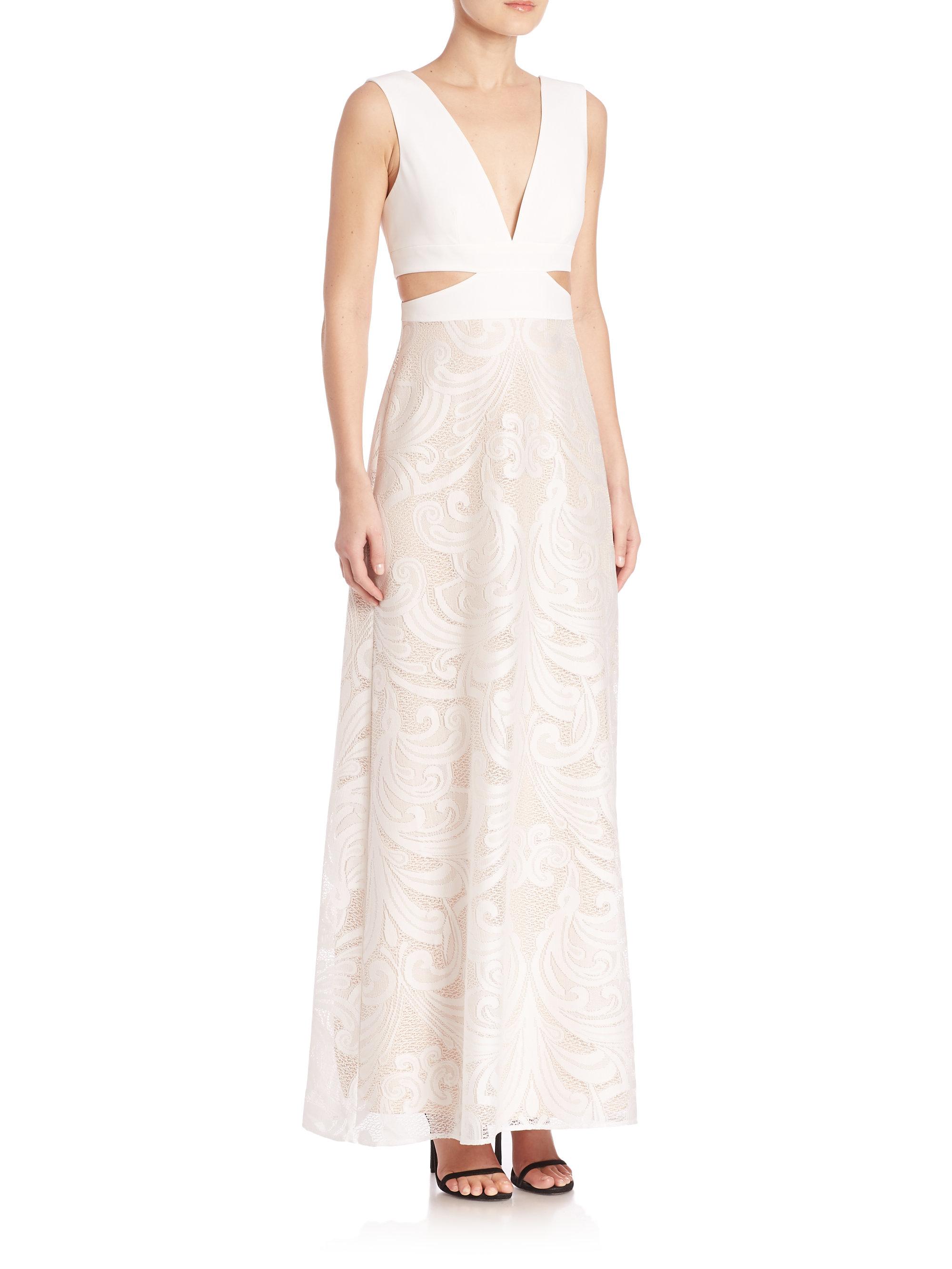Lyst - Bcbgmaxazria Swirl Lace Cutout Gown in White
