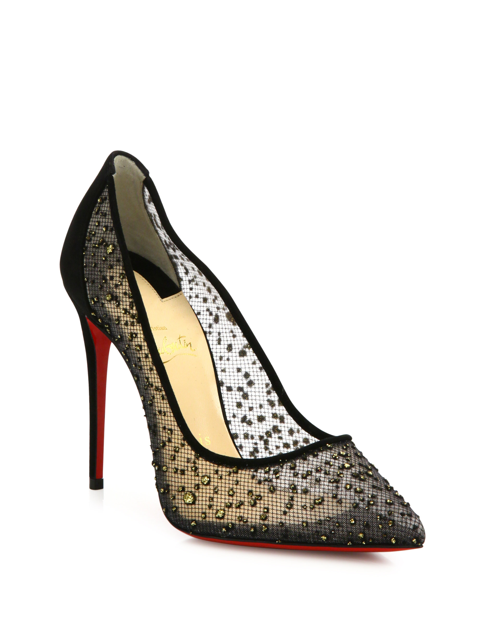 117608f114 Christian Louboutin Follies Strass 100 Mesh Point Toe Pumps in Black ...
