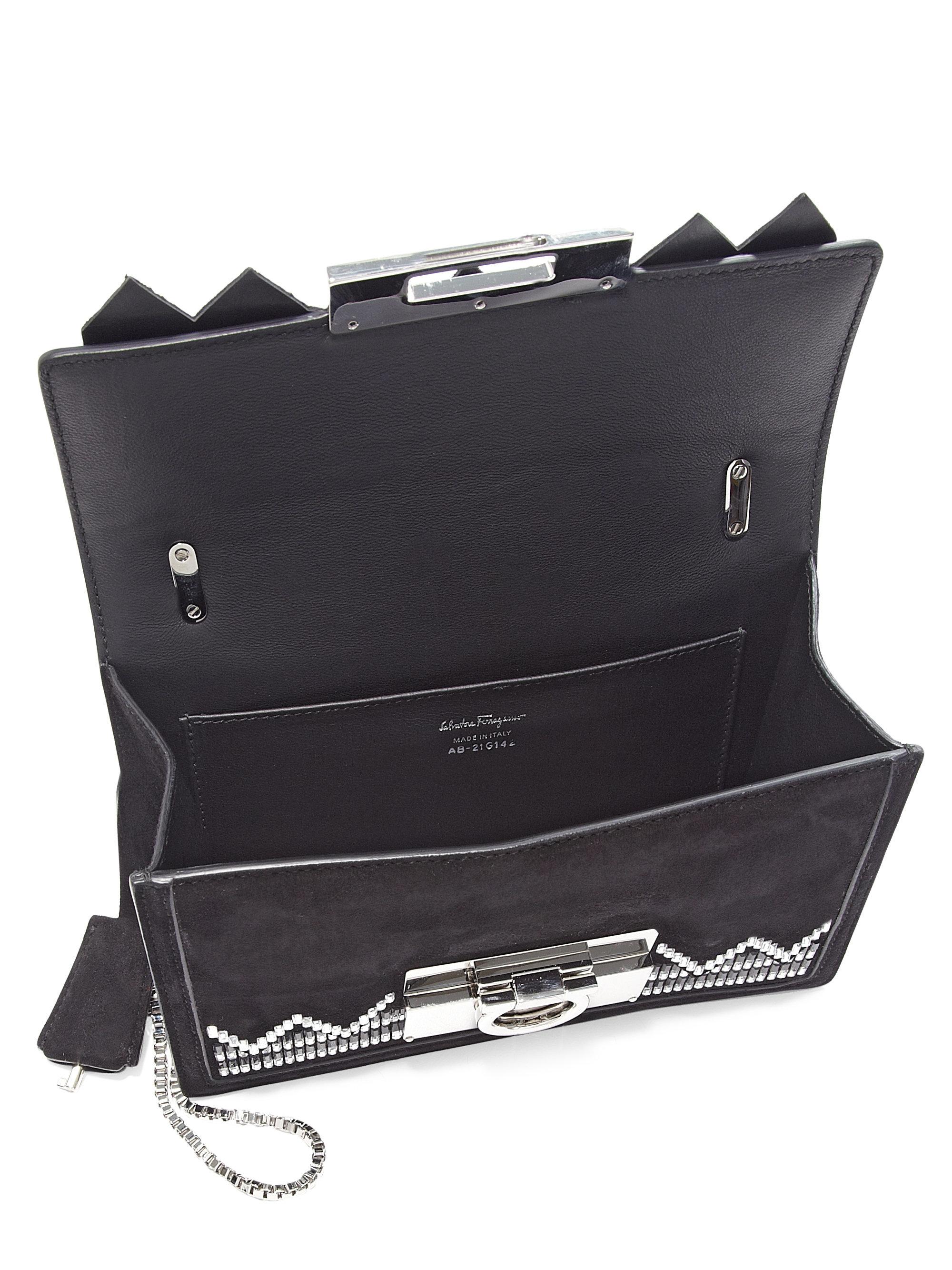 94364a3745 Lyst - Ferragamo Aileen Chevron Suede Crossbody Bag in Black
