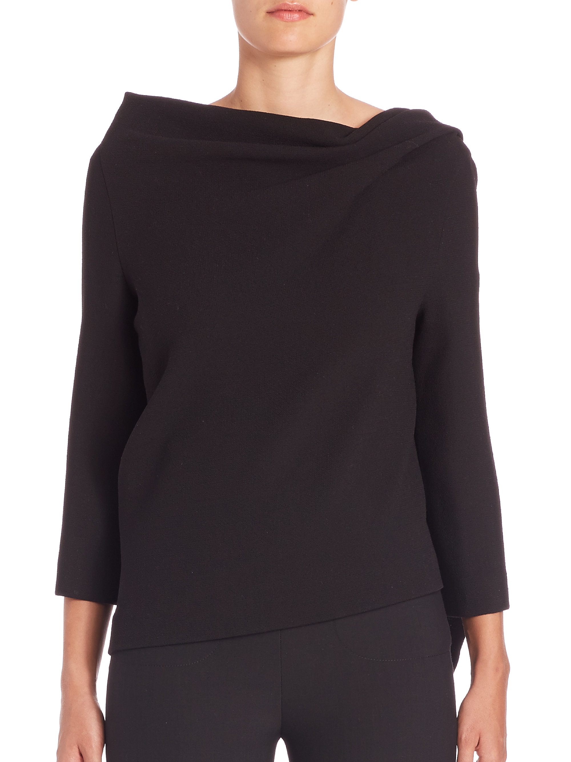 Roland mouret oscar long sleeve double wool crepe top in for Adam lippes women s long sleeve vee t shirt