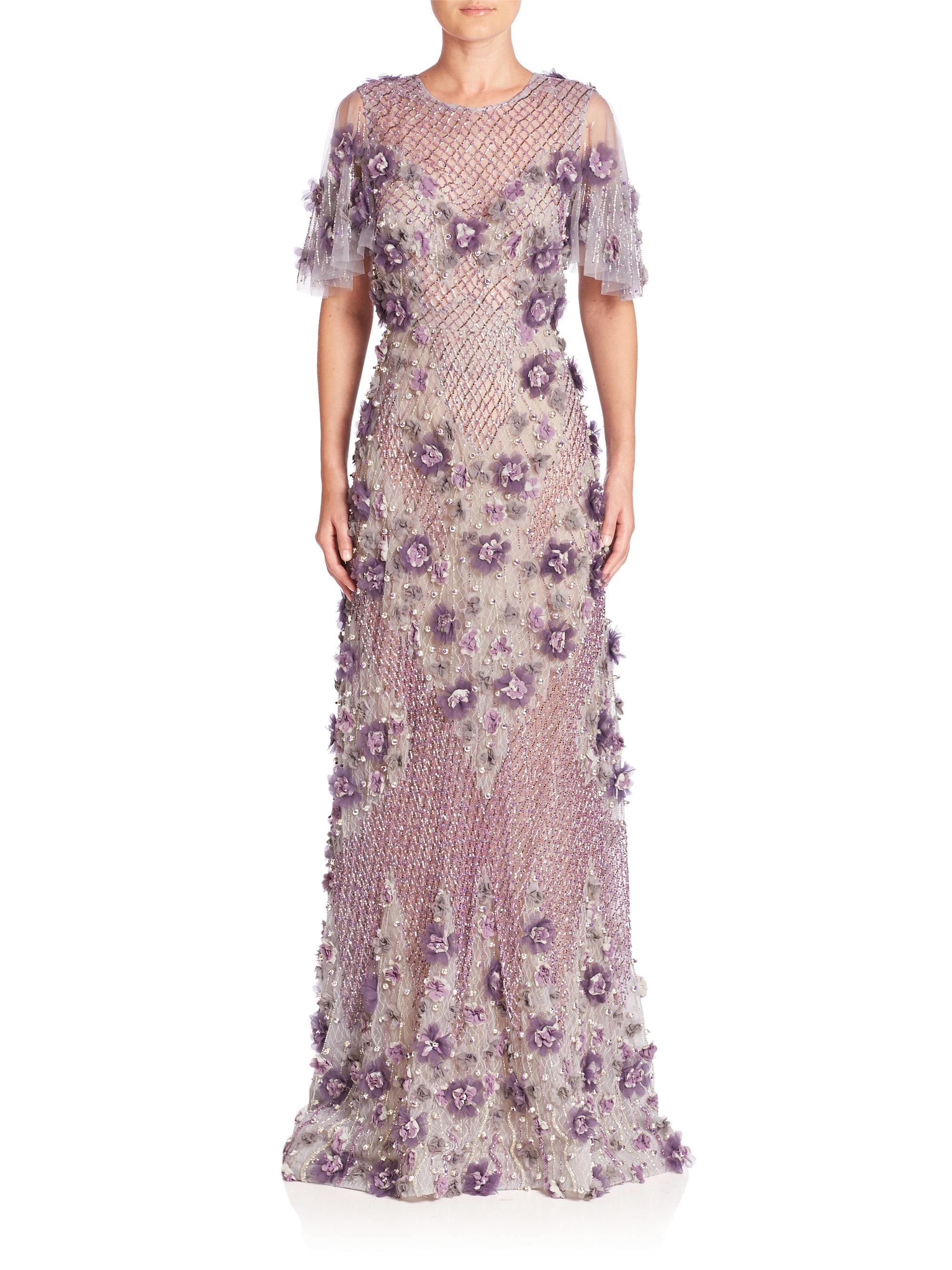 Lyst - Marchesa Embellished Drop Waist Ball Gown