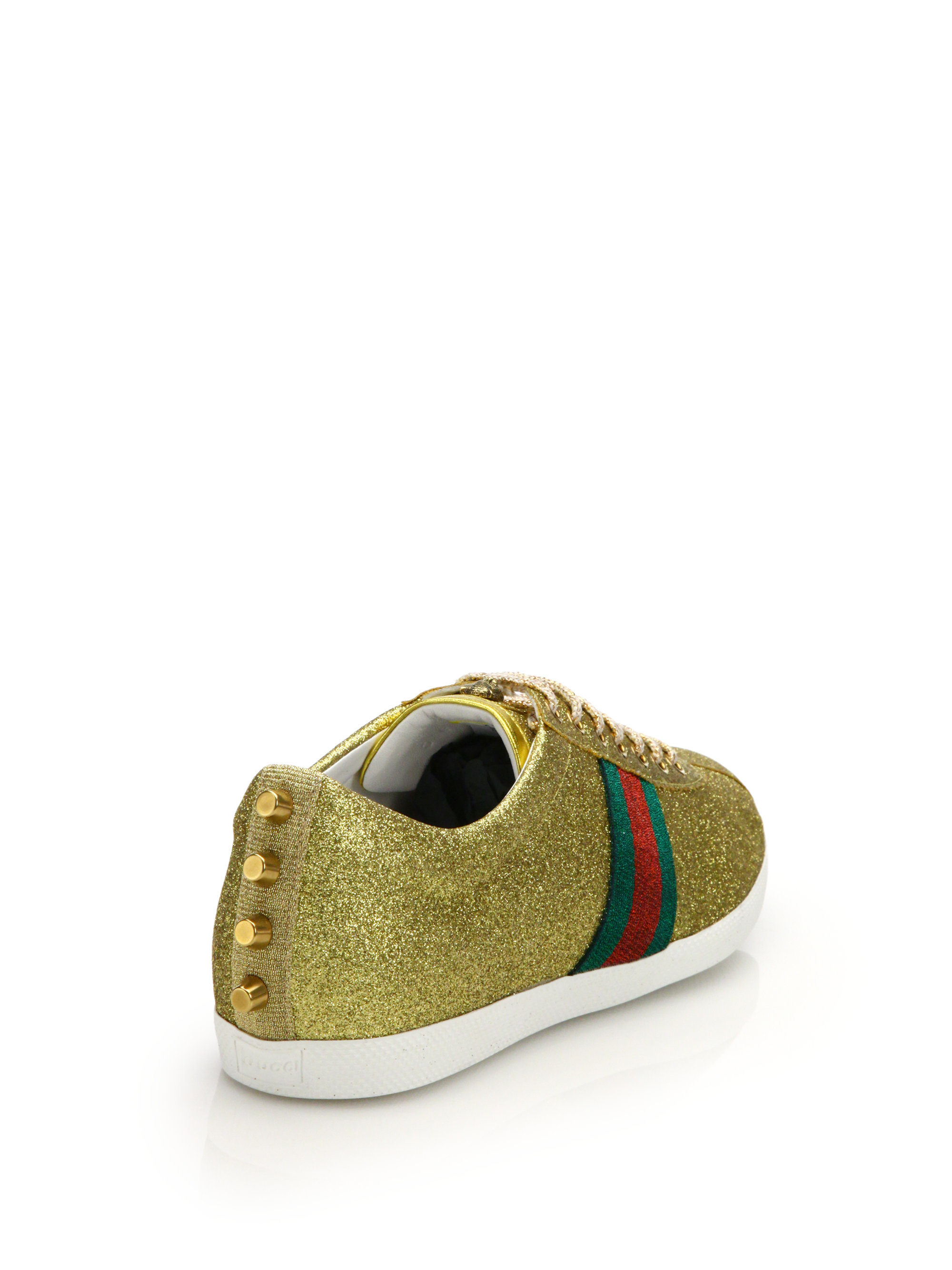 825a1b541 Gucci Bambi Web Studded Low-top Sneakers in Metallic - Lyst