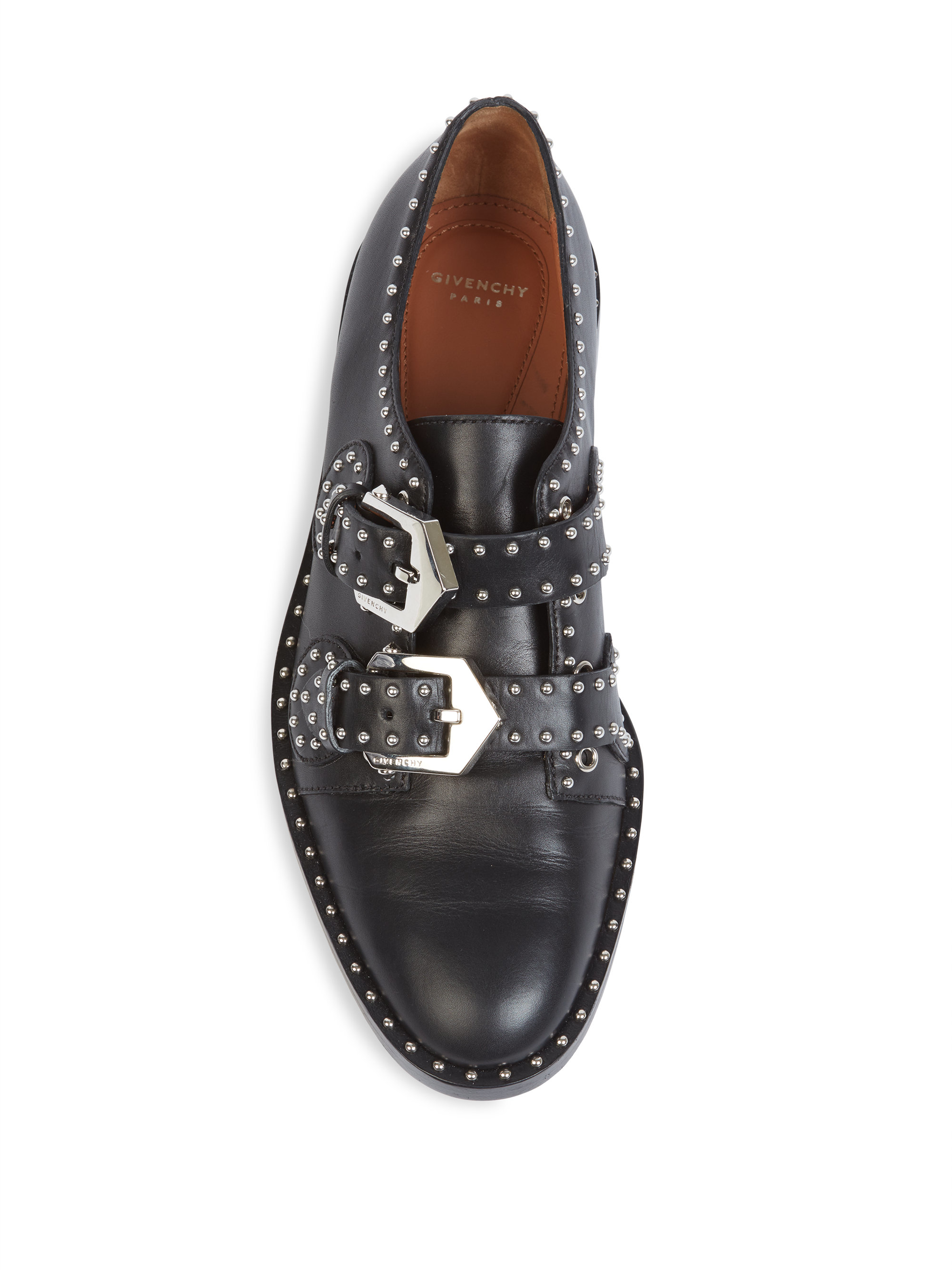 Lyst Givenchy Elegant Studded Leather Monk Strap Loafers