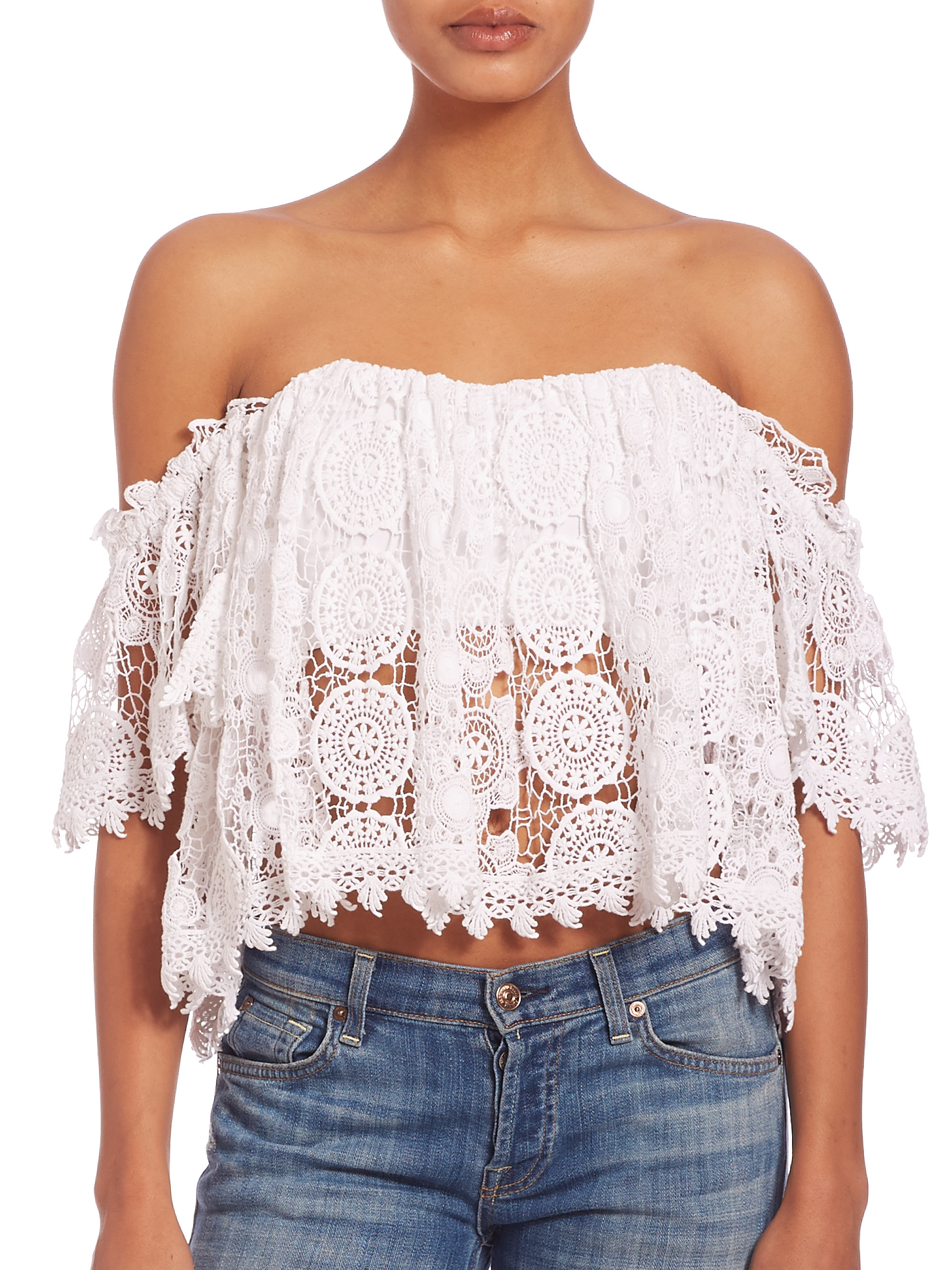 5262ab2c22cf0a Lyst - Tularosa Amelia Lace Off-the-shoulder Cropped Top in White