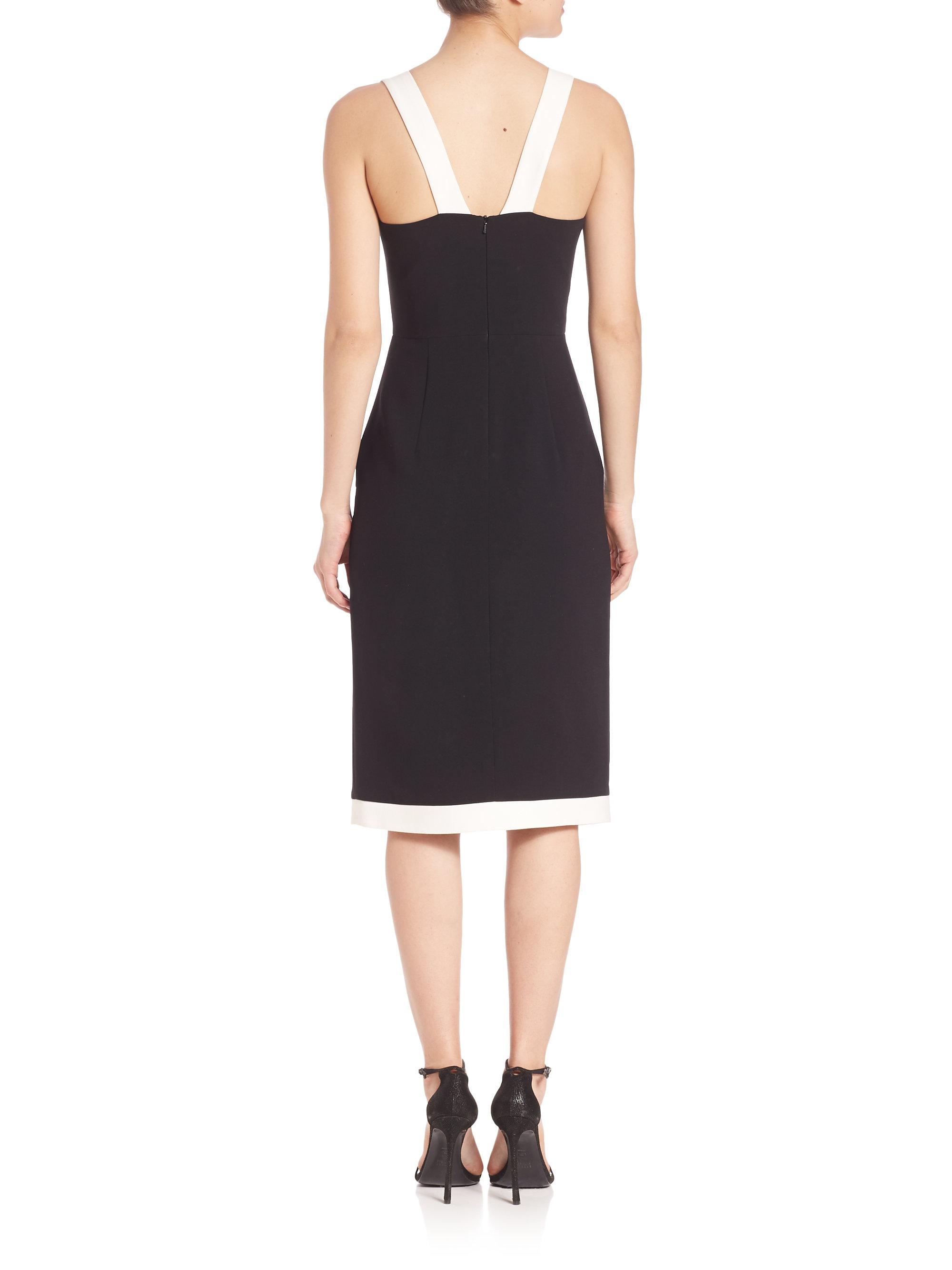 Black halo fatima sheath dress in black lyst for Saks fifth avenue wedding guest dresses