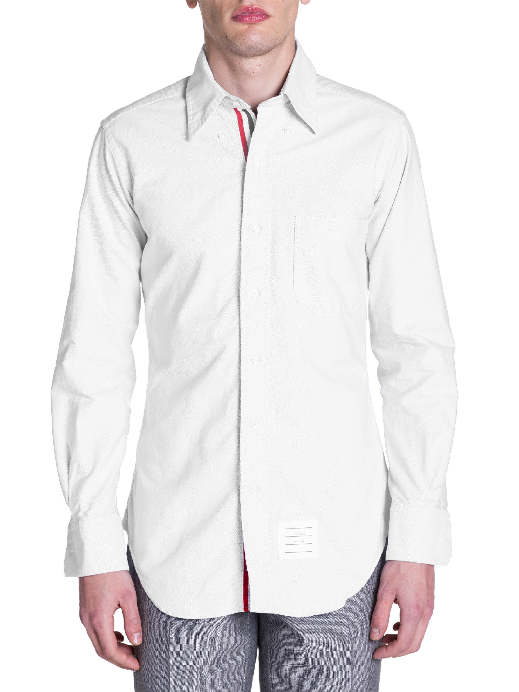 thom browne classic button down shirt in white for men lyst