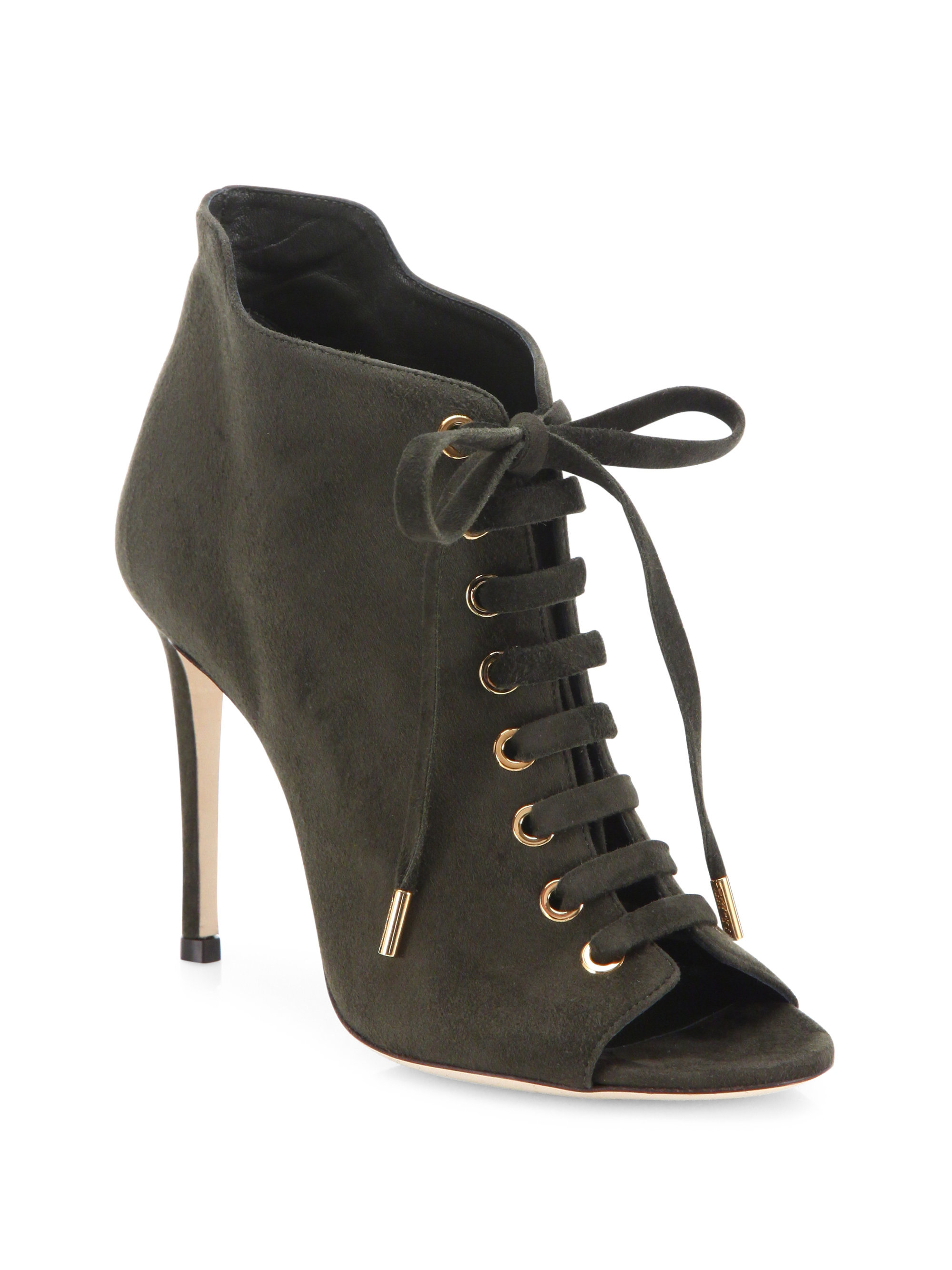 385cfce68d2 Jimmy choo Mavy Suede Peep-toe Lace-up Booties in Green