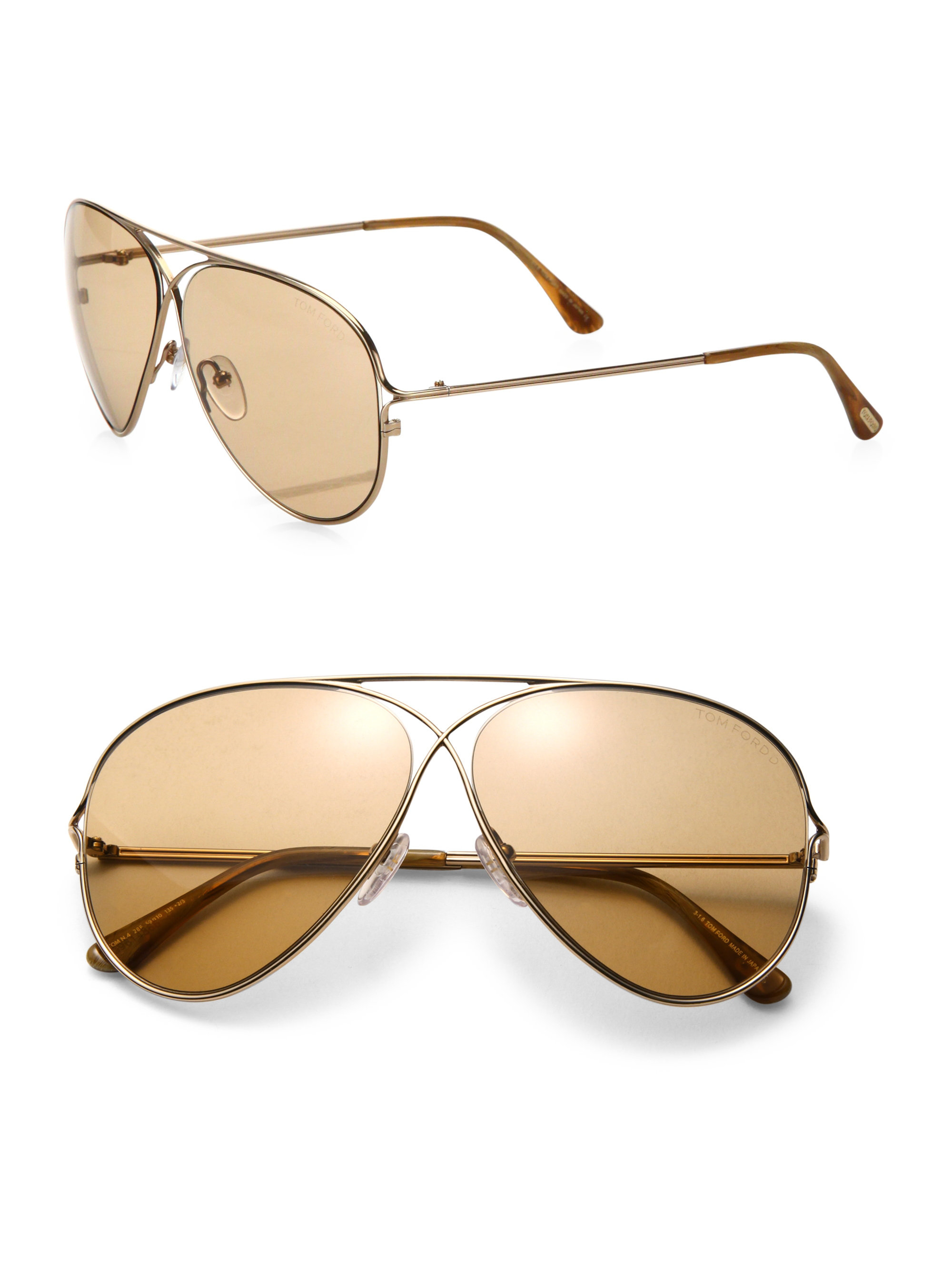 f4e275bb0c34 Lyst - Tom Ford Private Collection Tom N.4 59mm Titanium Aviator ...