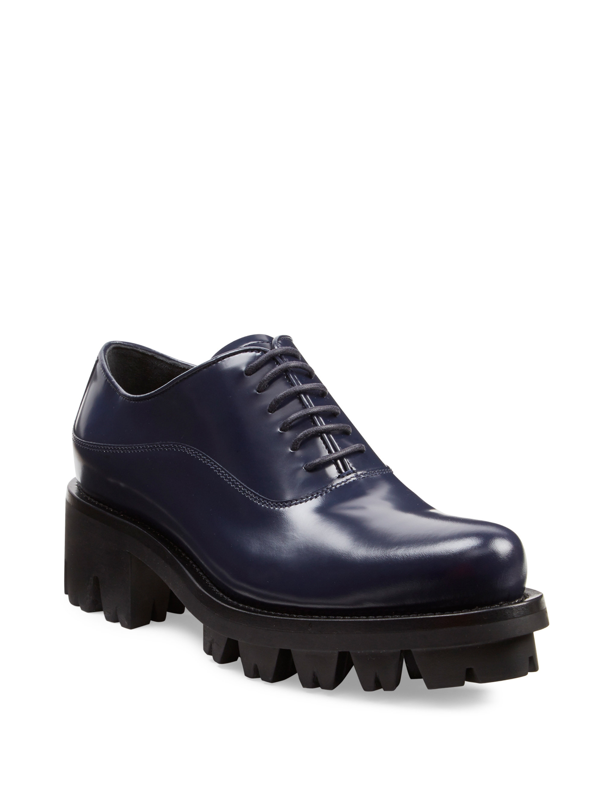 Lyst Prada Lug Sole Leather Lace Up Oxfords For Men