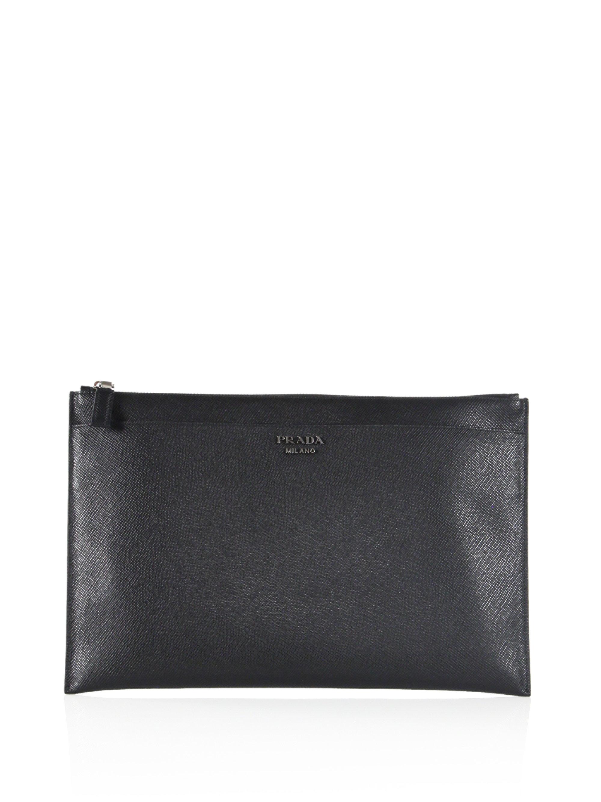Prada embossed leather document holder in black for men lyst for Prada mens document holder