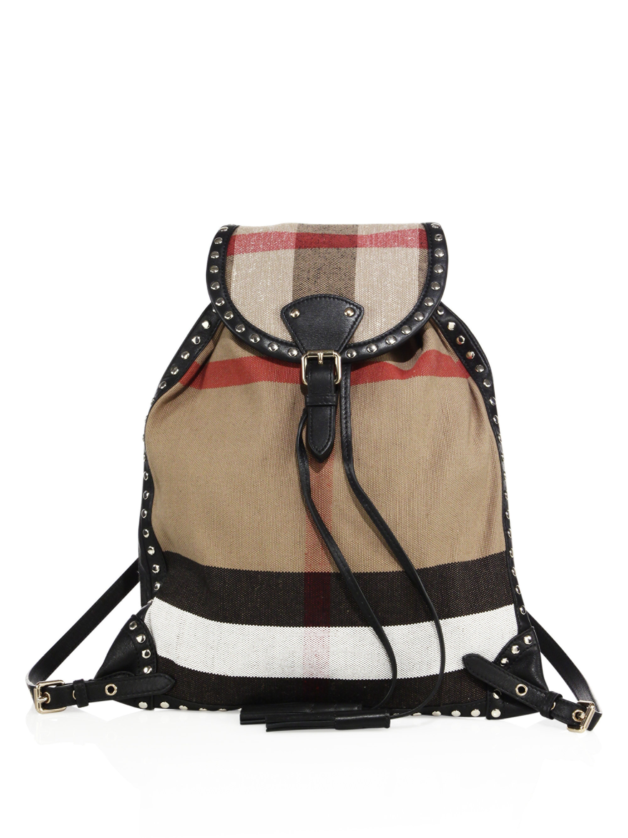 Lyst - Burberry Chiltern Studded Canvas Check Backpack d09bb193ae