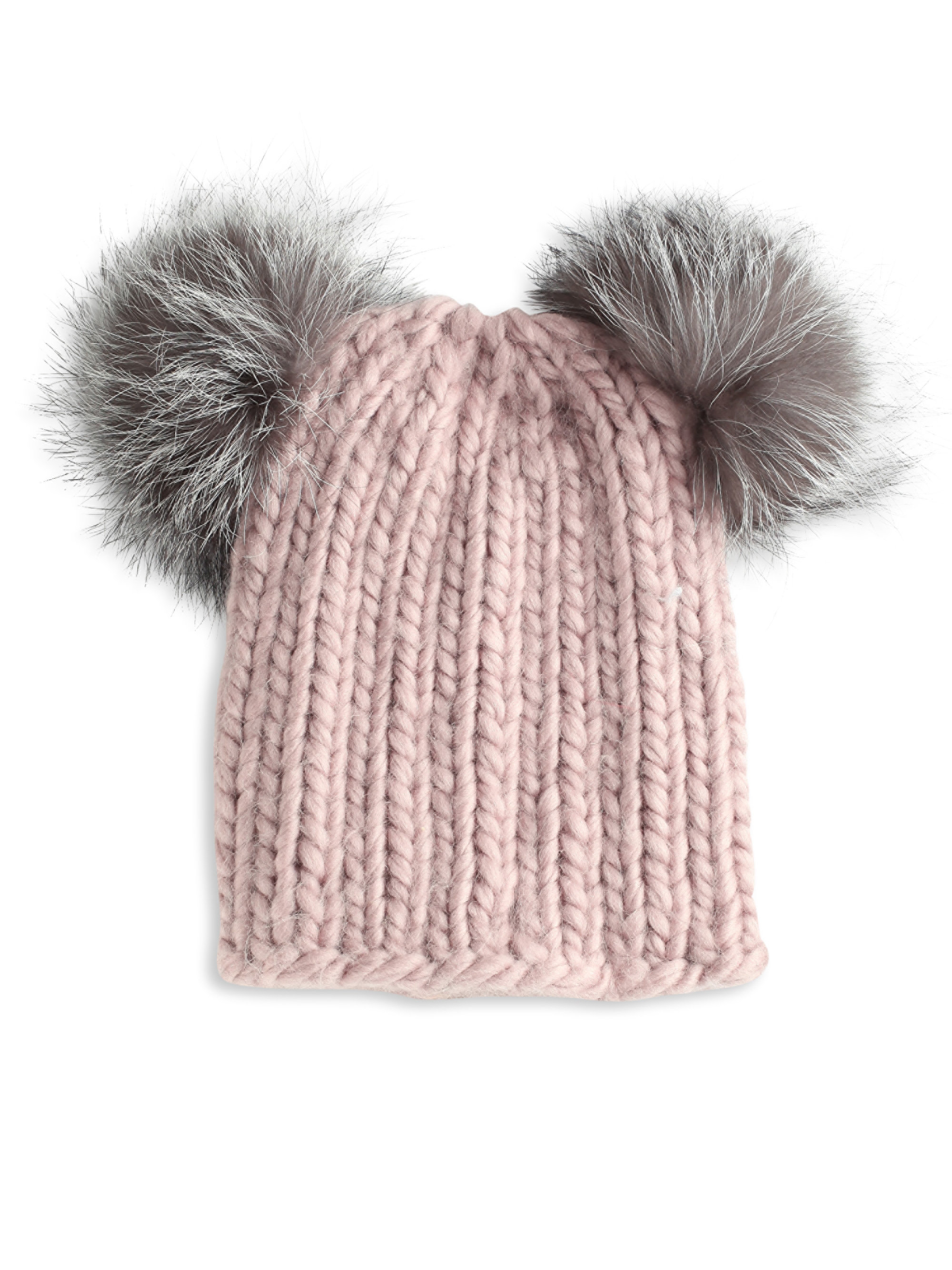 38fc63c053090 Eugenia Kim Mimi Wool Hat W  Fox Pompoms in Pink - Lyst