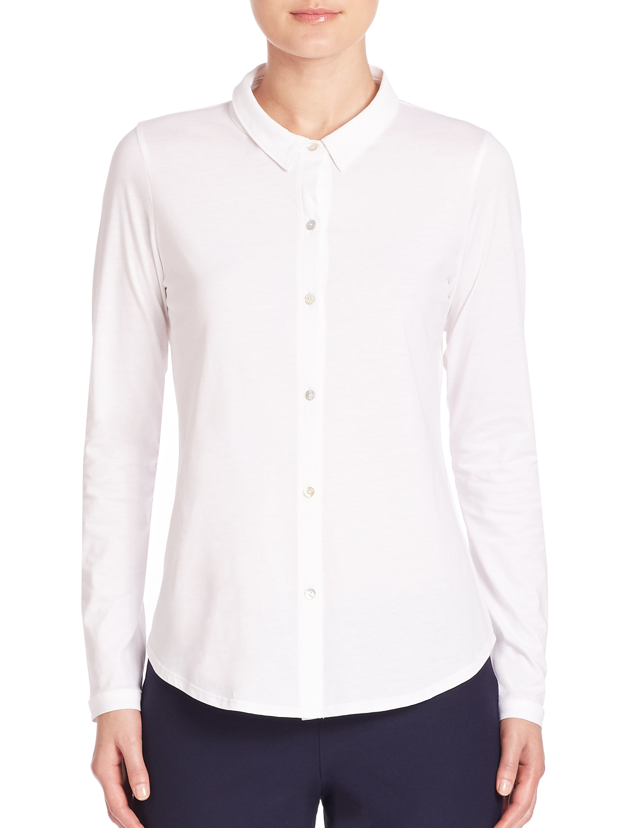 Eileen fisher organic cotton button front shirt in white for Organic cotton button down shirts