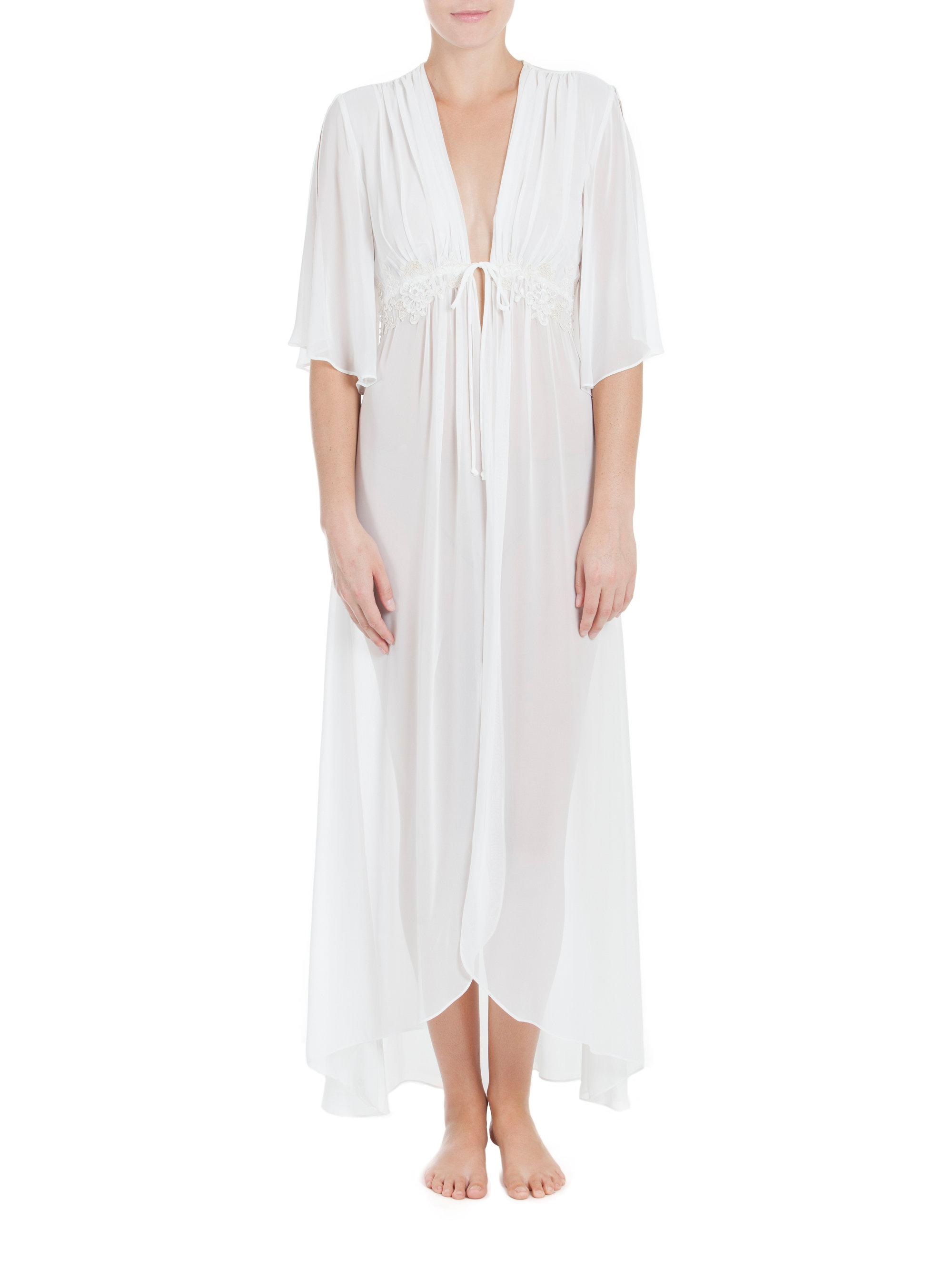 Jonquil windsong chiffon bridal robe in white lyst for Saks 5th avenue robes de mariage