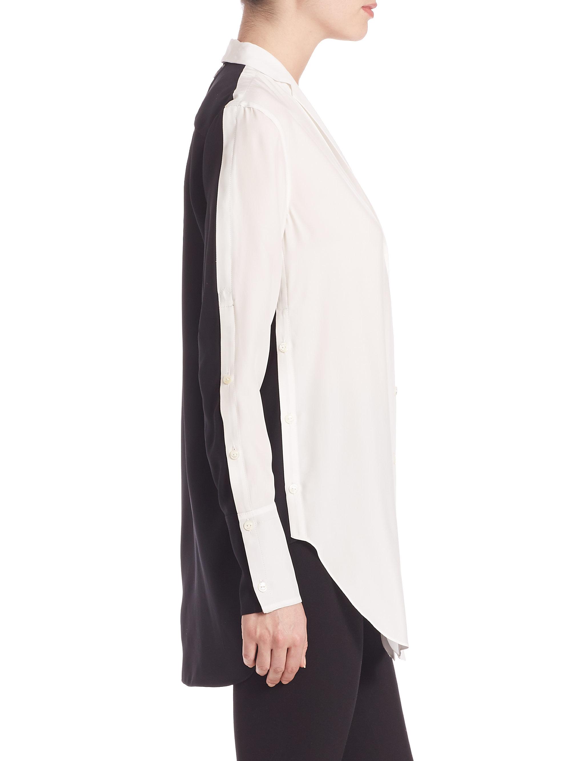 f7bfa077913566 Lyst - Rag   Bone Leighton Silk Two-tone Blouse in White