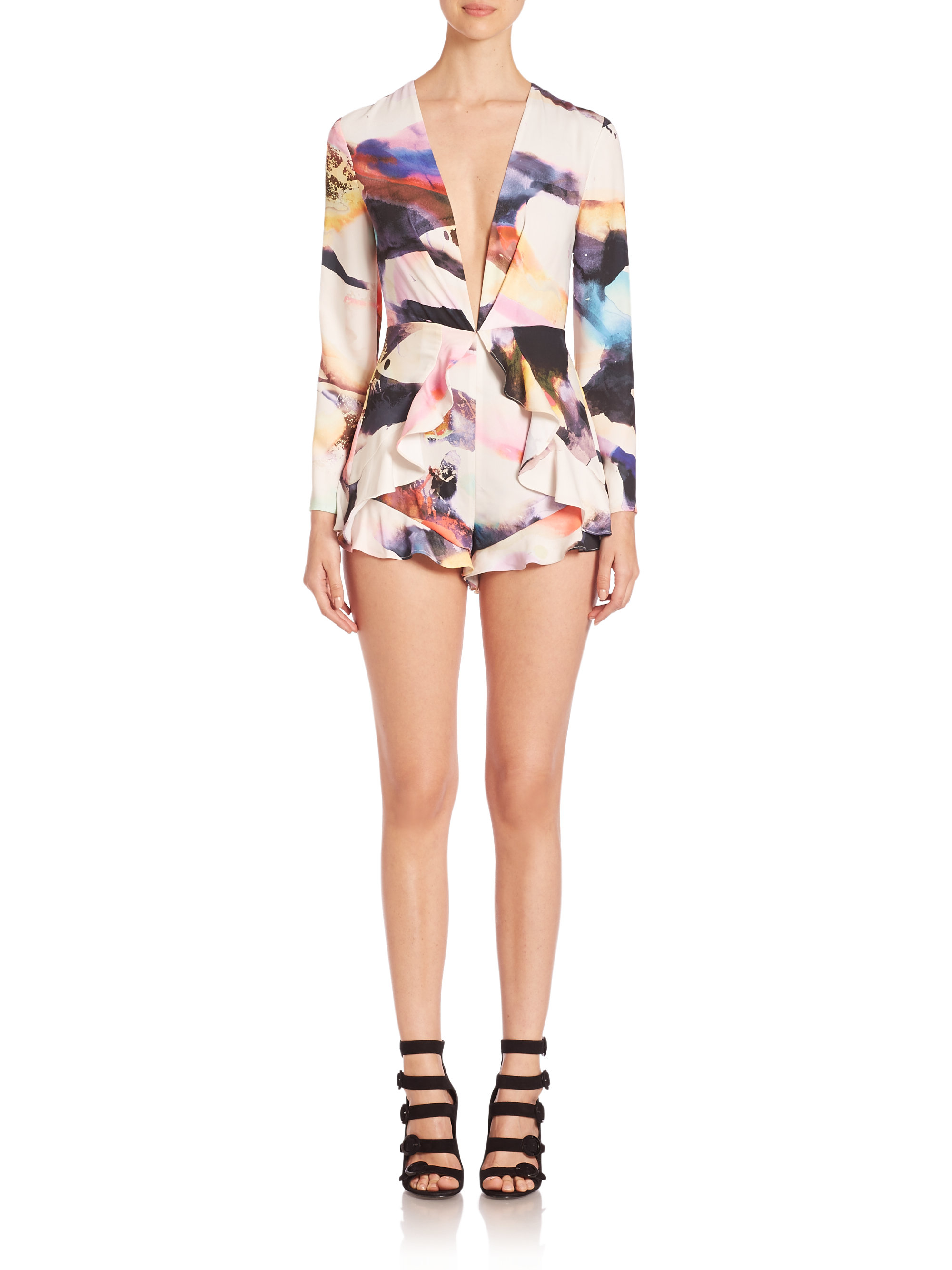 11145bc45895 Lyst - Kendall + Kylie Flutter Long Sleeve Romper in Black