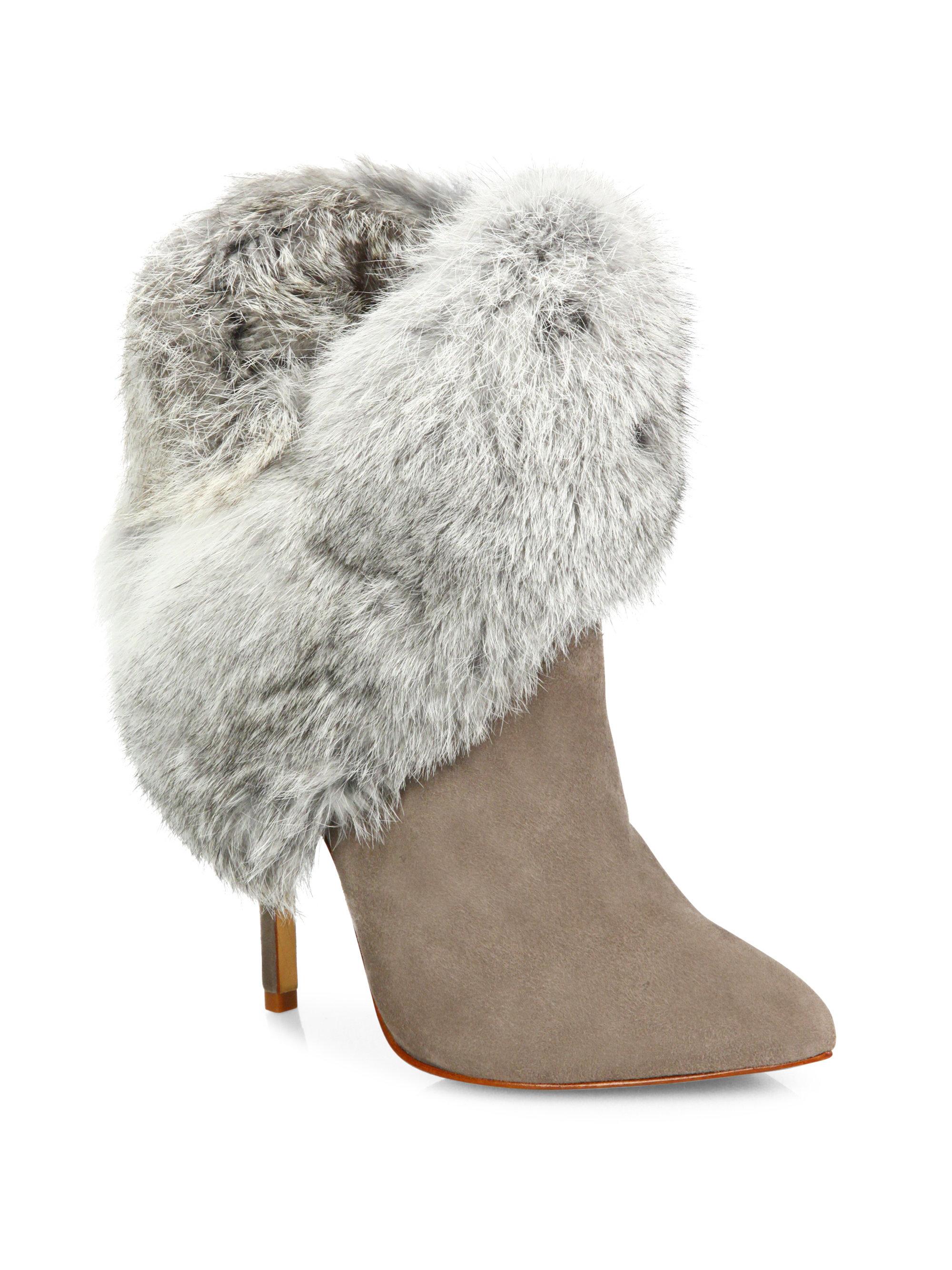 Schutz Henriette Suede & Rabbit Fur Booties  Lyst