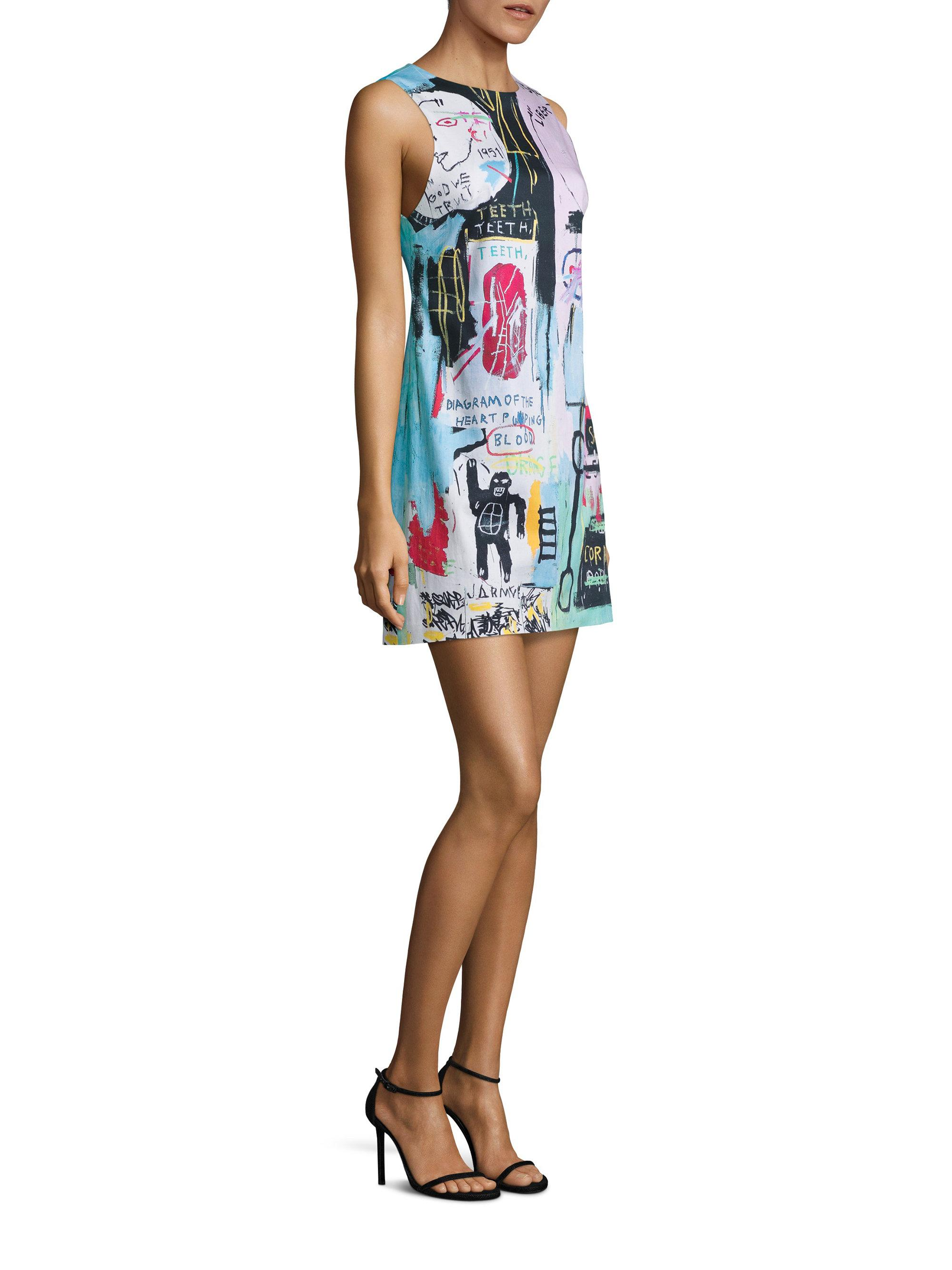 e3dd590472e Alice + Olivia X Basquiat Clyde Printed Shift Dress - Lyst