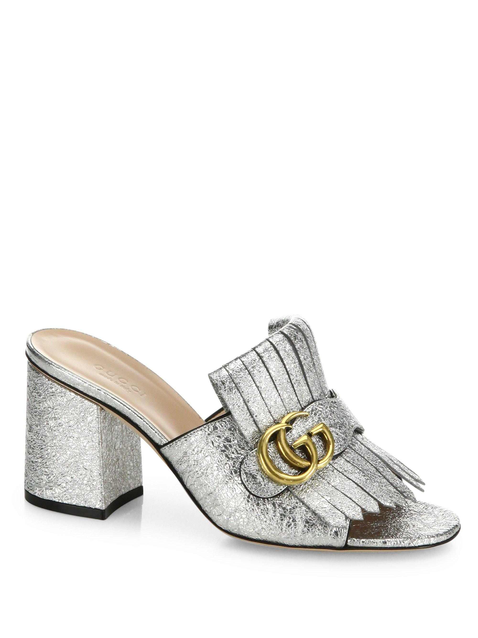 a3b21a393016 Lyst - Gucci Marmont Gg Kiltie Metallic Leather Block Heel Mules in ...